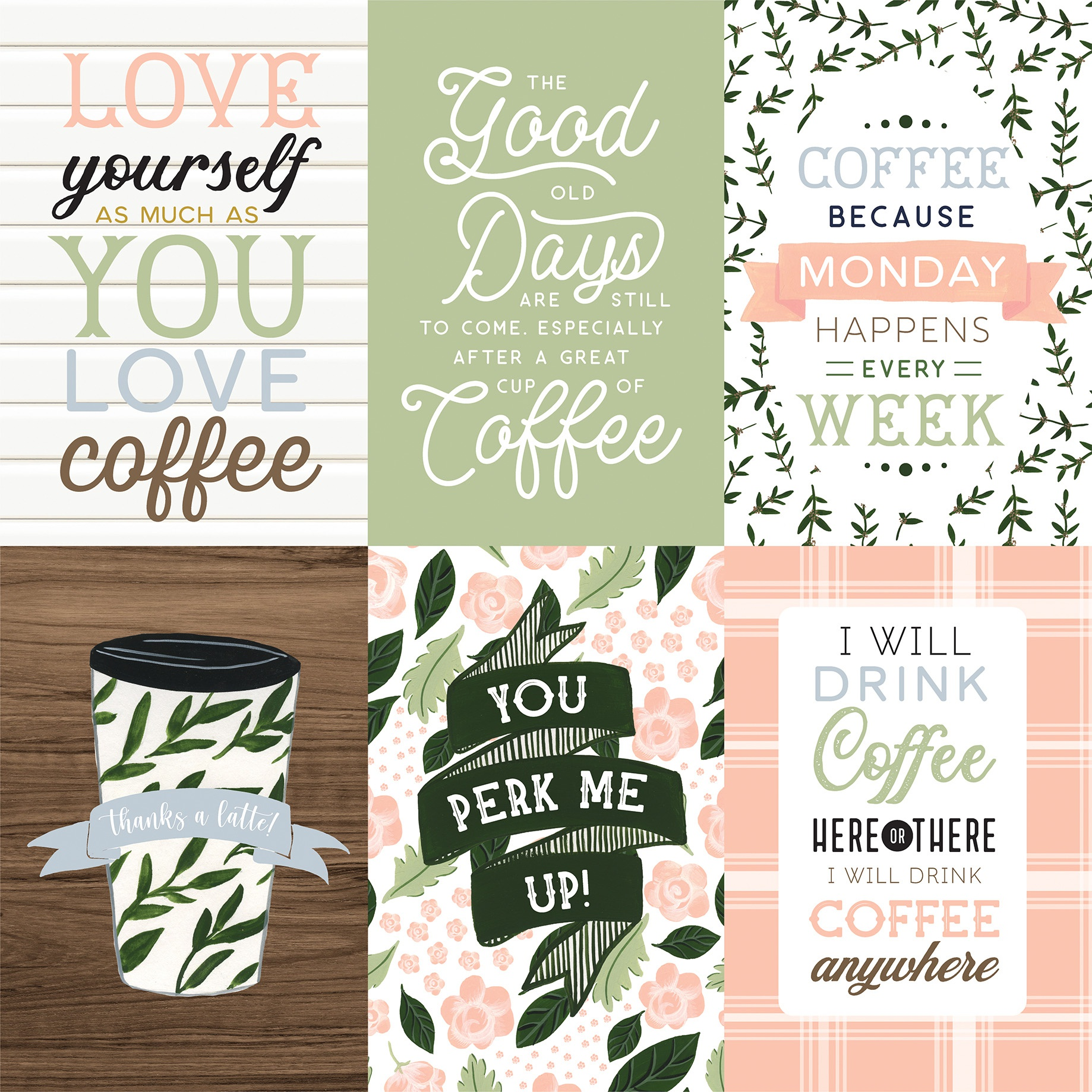 Coffee & Friends Double-Sided Cardstock 12X12-4X6 Journaling Cards