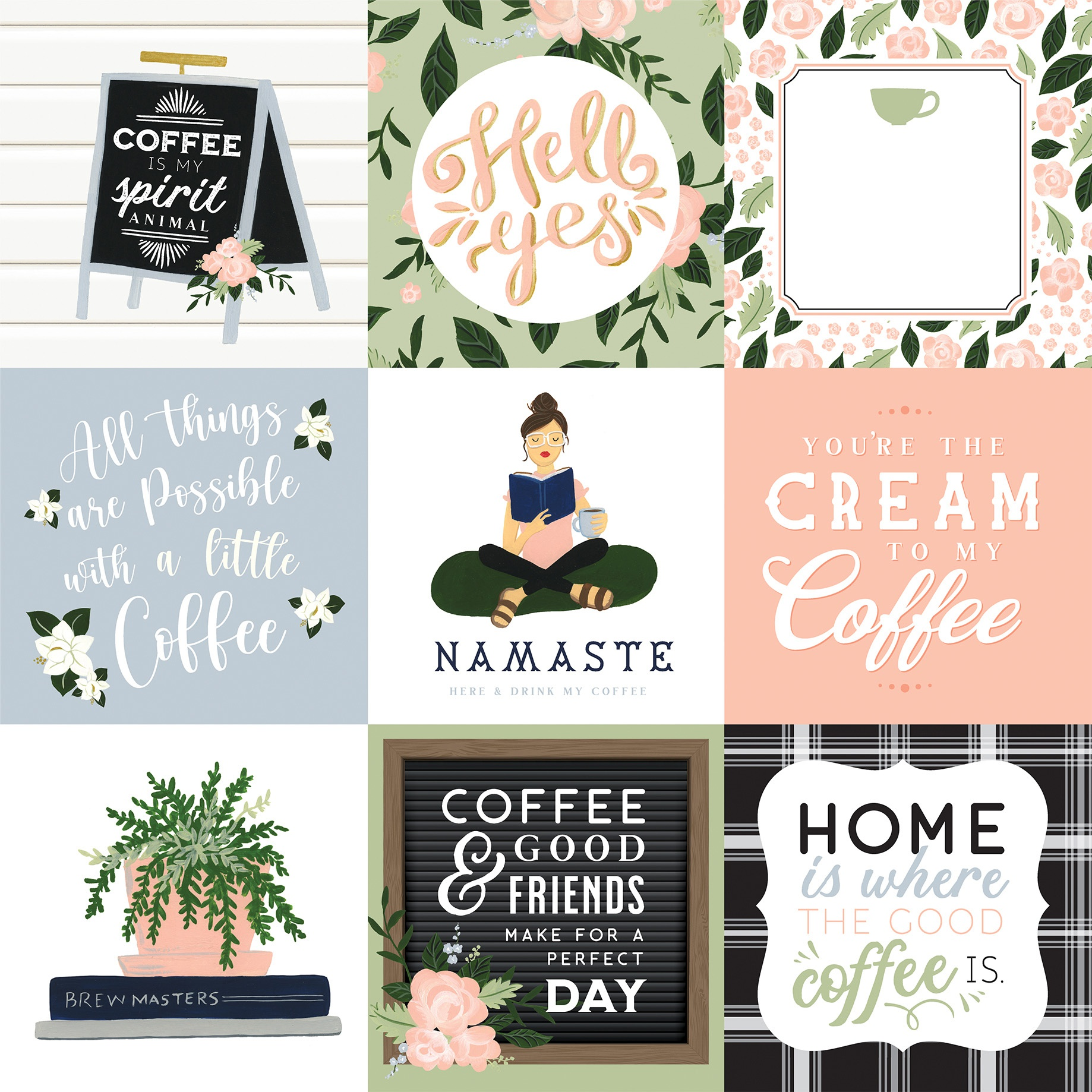Coffee & Friends Double-Sided Cardstock 12X12-4X4 Journaling Cards