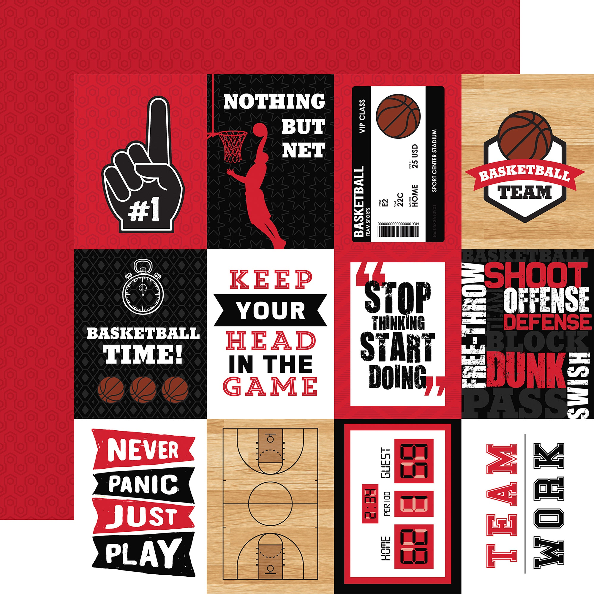 Basketball Double-Sided Cardstock 12X12-3X4 Journaling Cards