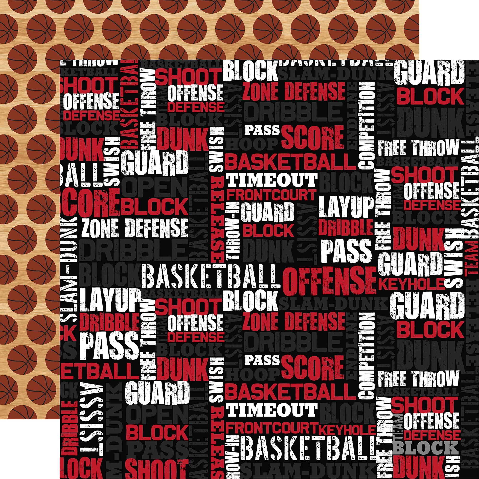 Basketball Double-Sided Cardstock 12X12-Basketball Words