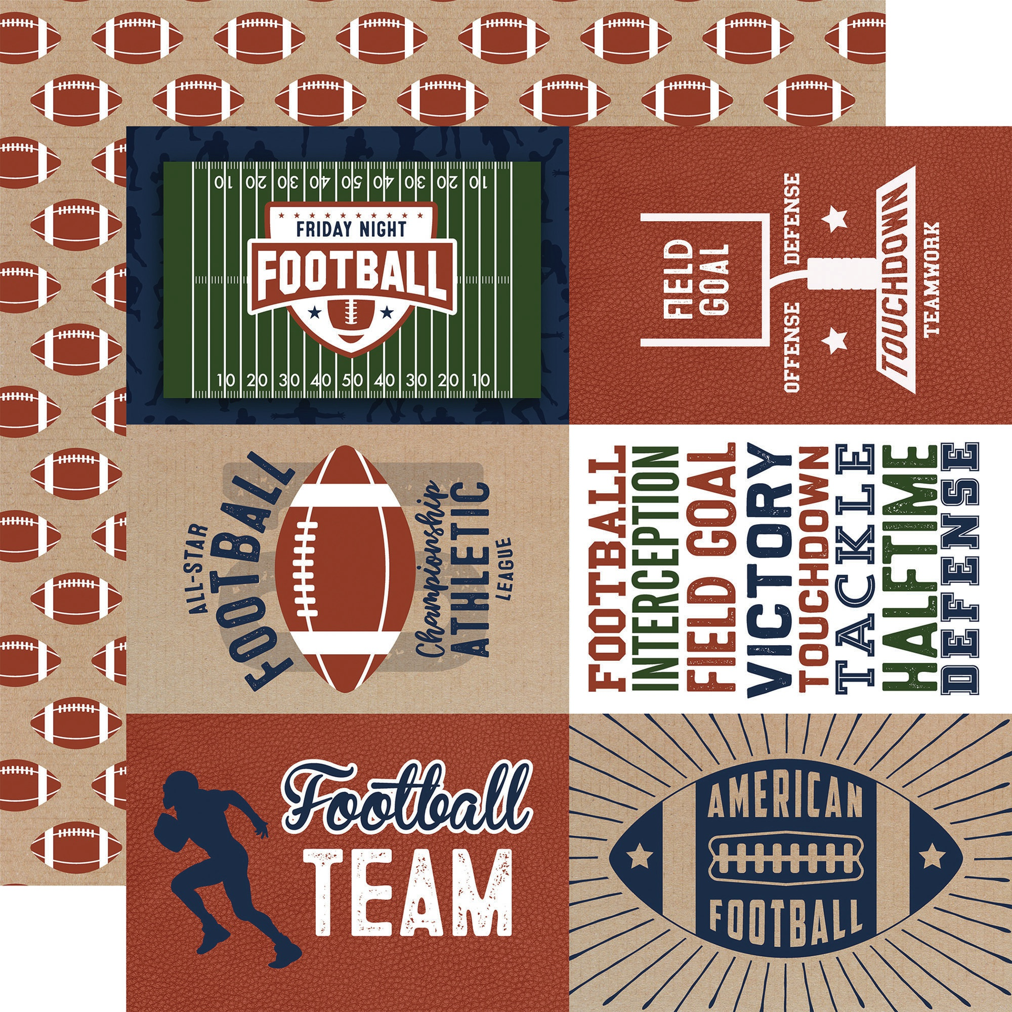 Football Double-Sided Cardstock 12X12-4X6 Journaling Cards