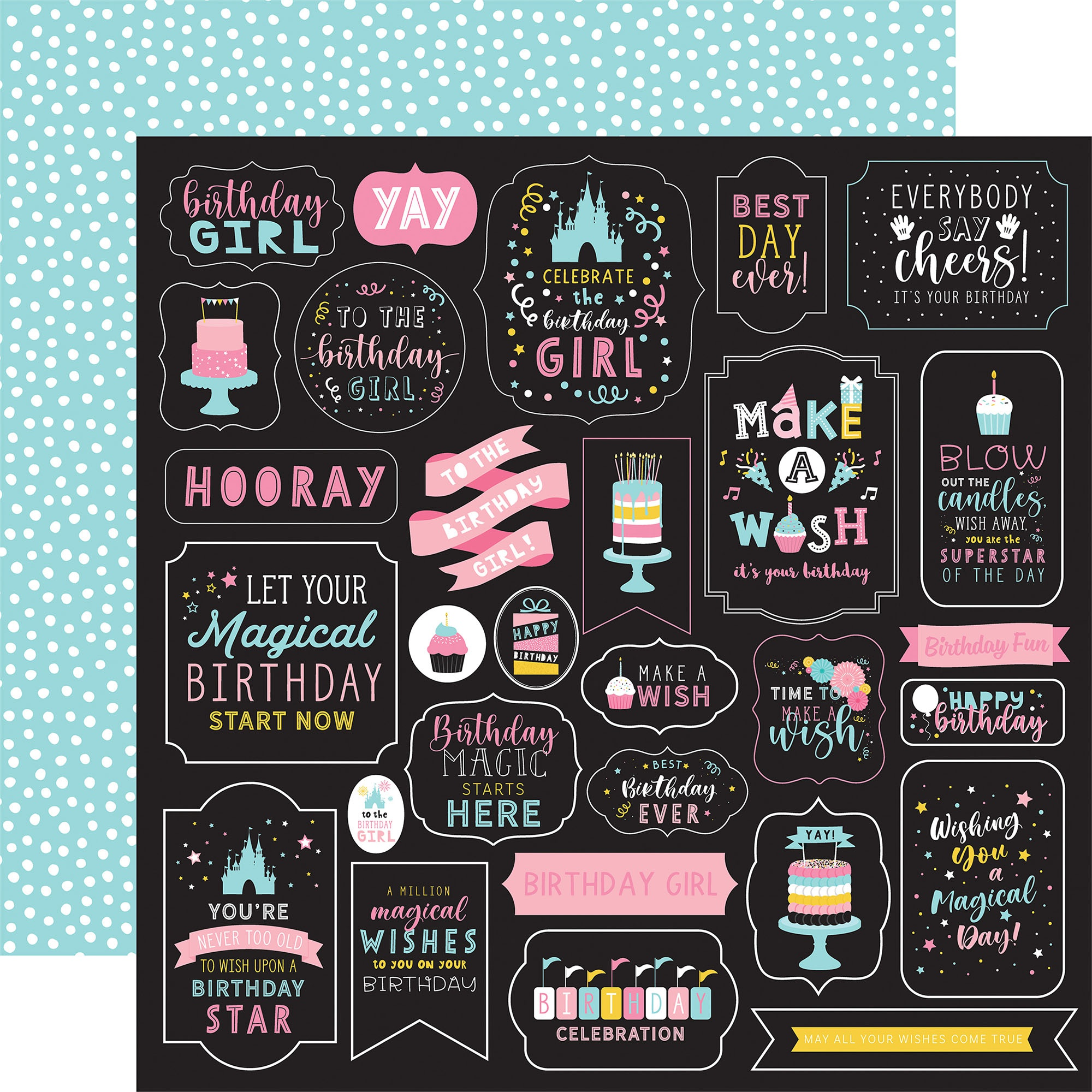 COLLECTION: Magical Birthday Girl Double-Sided Cardstock 12X12