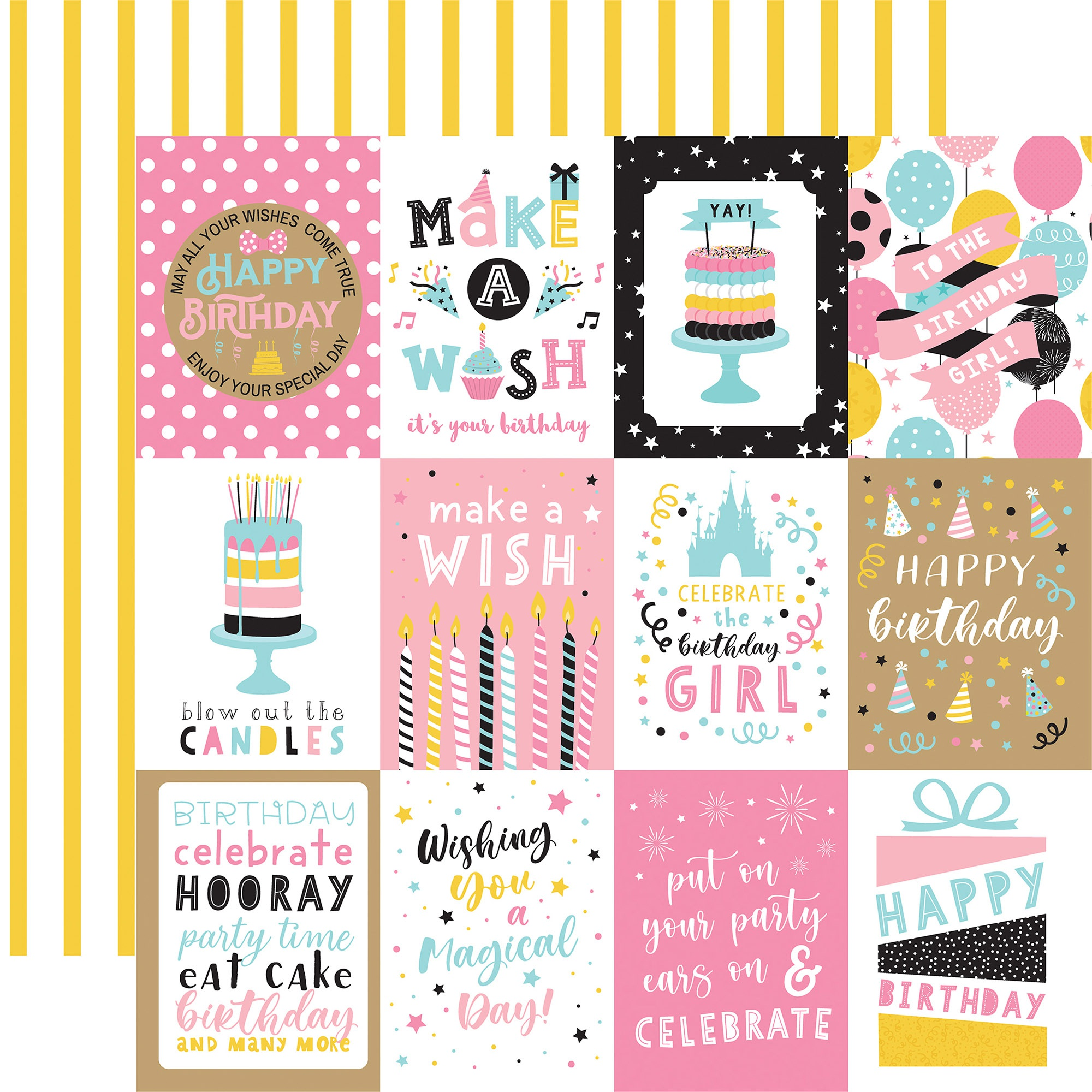 Echo Park - Magical Birthday Girl - 3x4 Journaling Cards