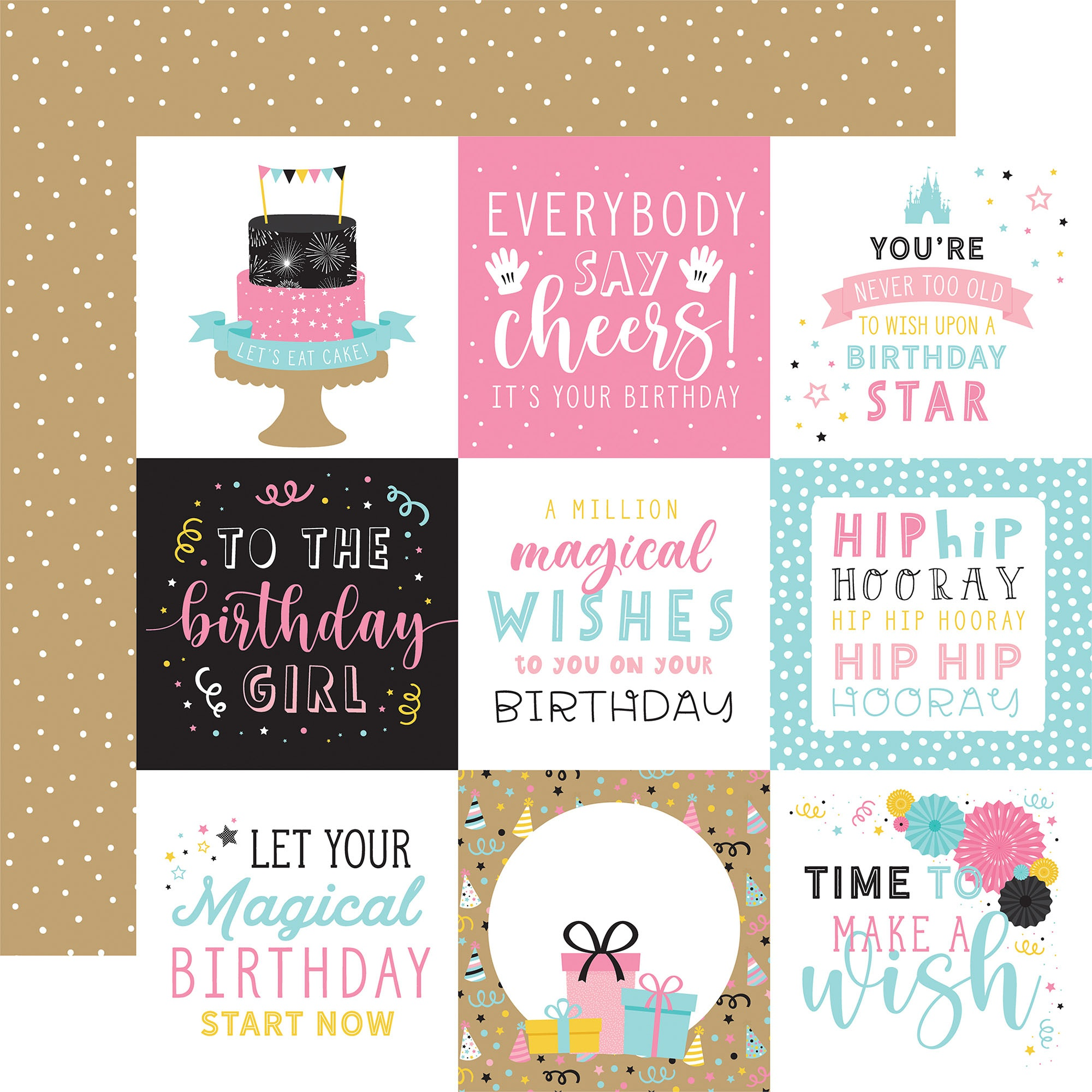 Echo Park - Magical Birthday Girl - 4x4 Journaling Cards