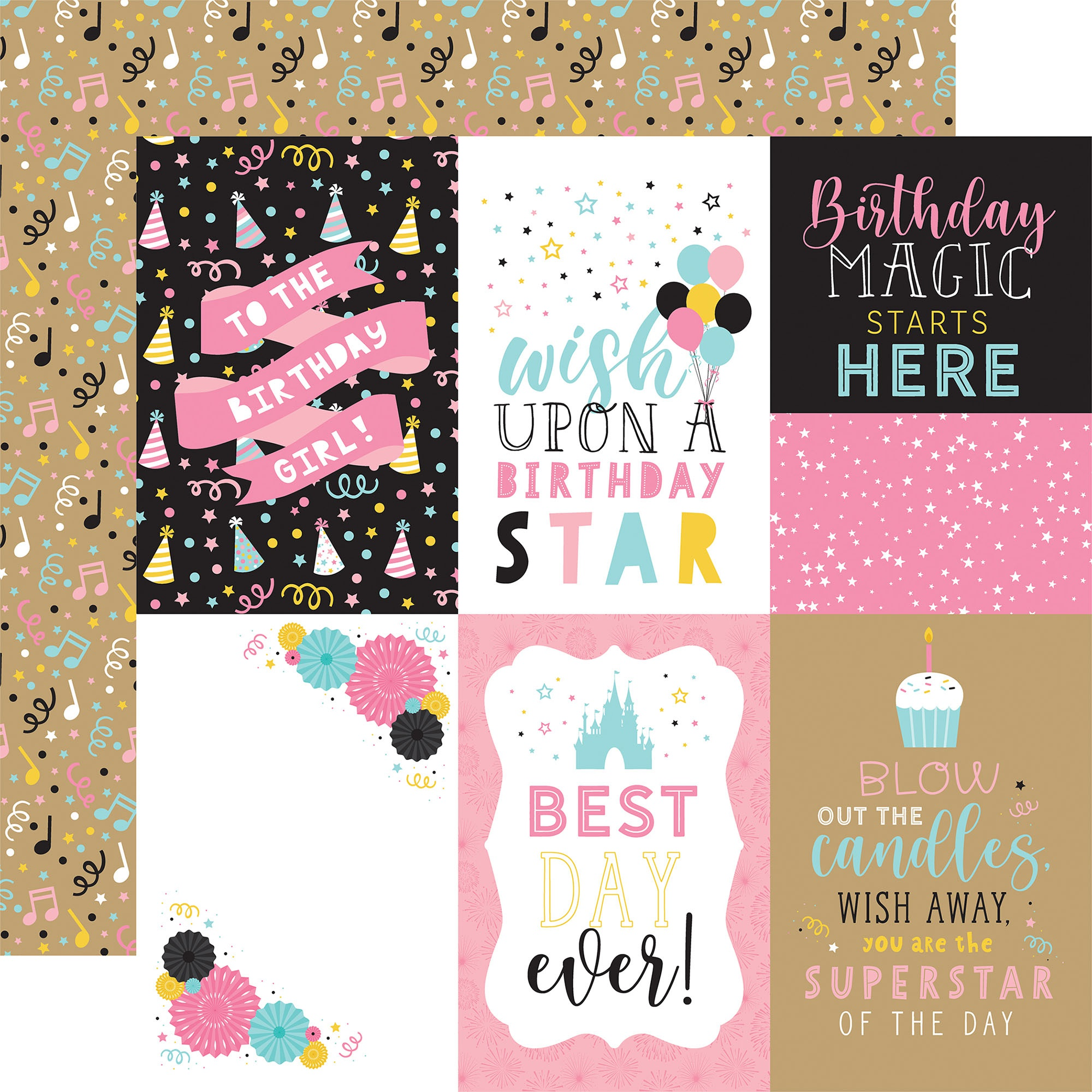 Echo Park - Magical Birthday Girl - 4x6 Journaling Cards