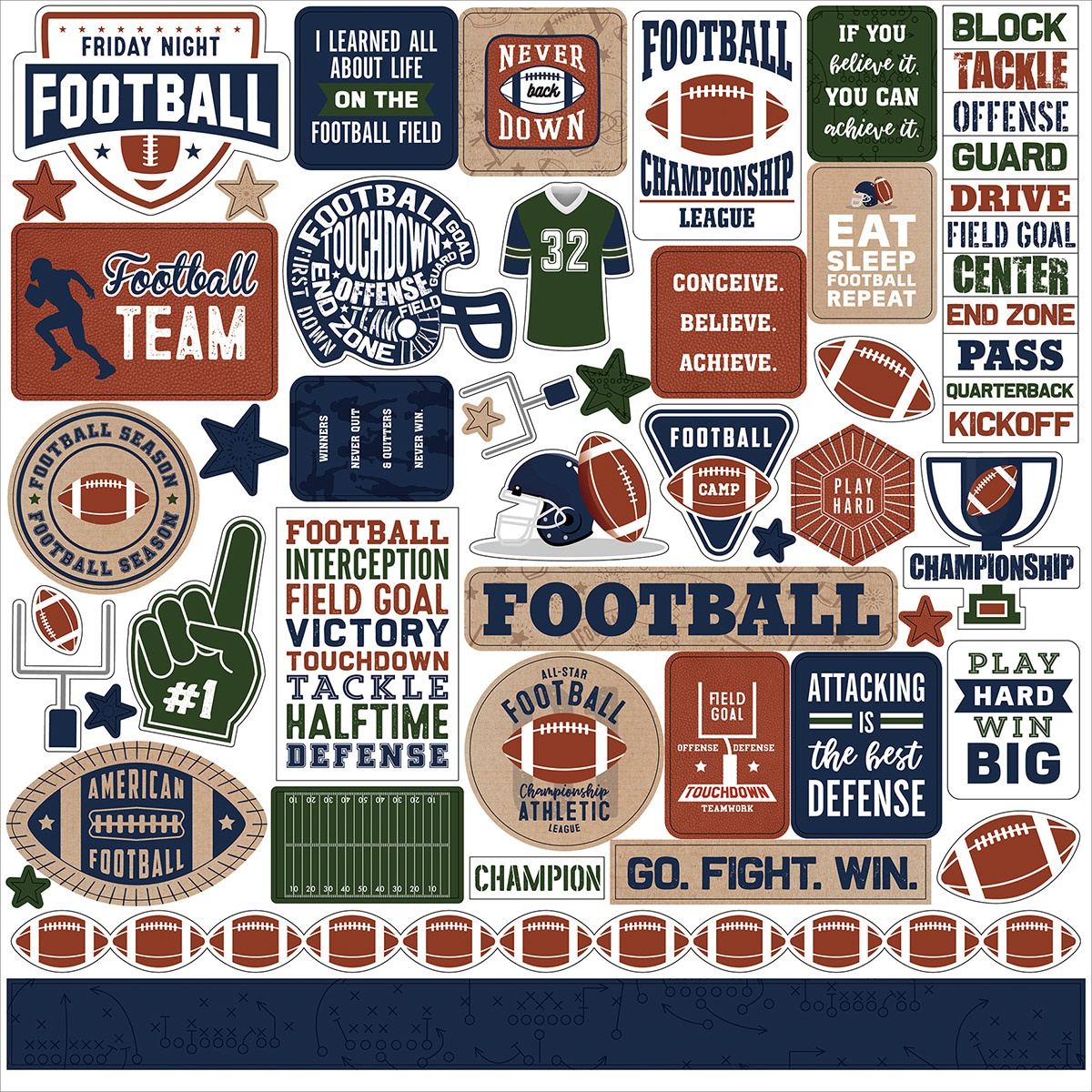 Football Cardstock Stickers 12X12-Elements