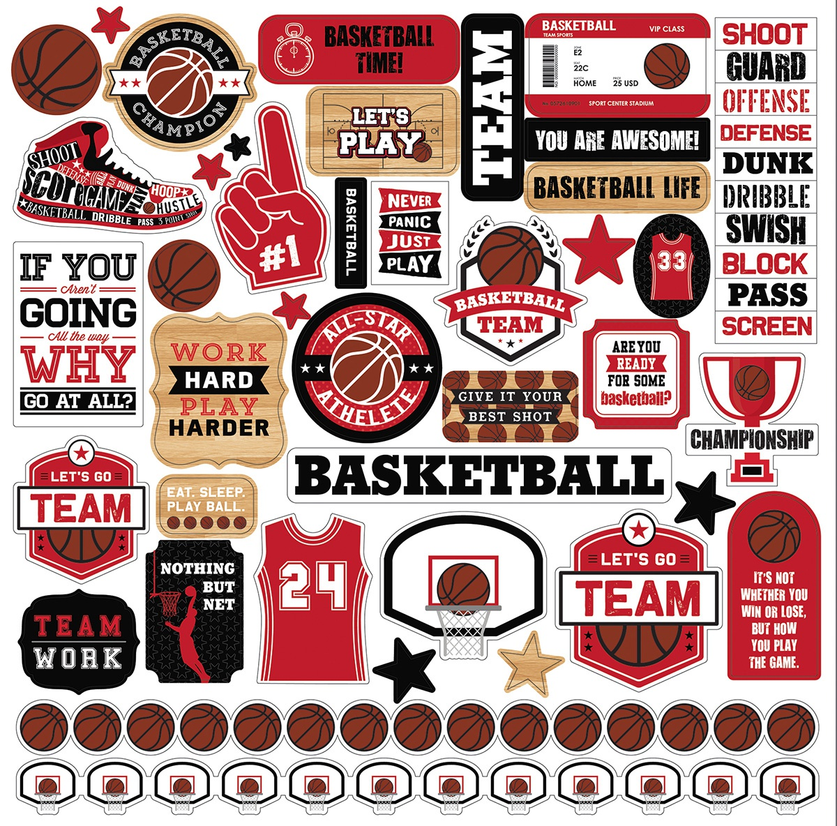 Basketball Cardstock Stickers 12X12-Elements