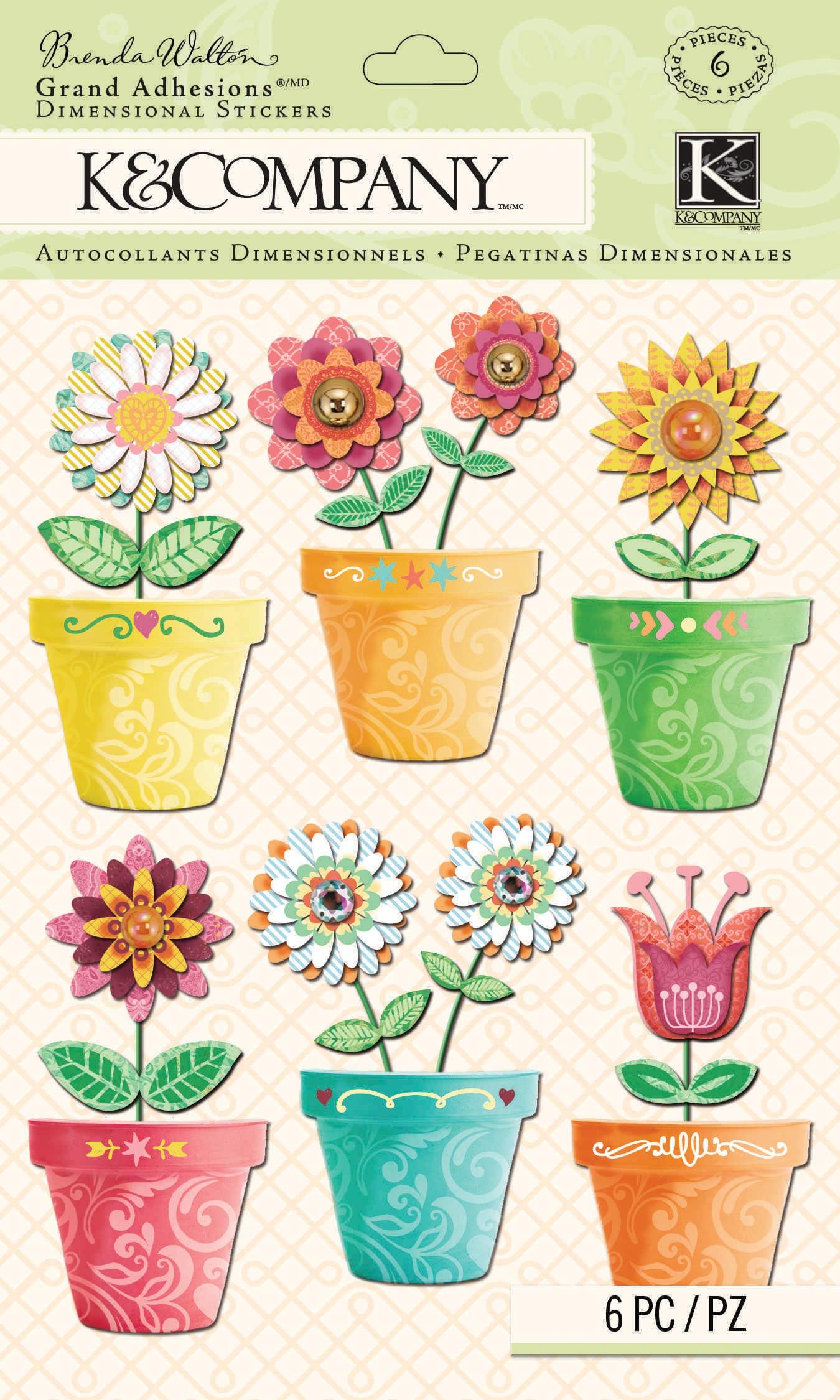 Brenda Walton Grand Adhesions Dimensional Stickers 6/Pkg-Flower Pots