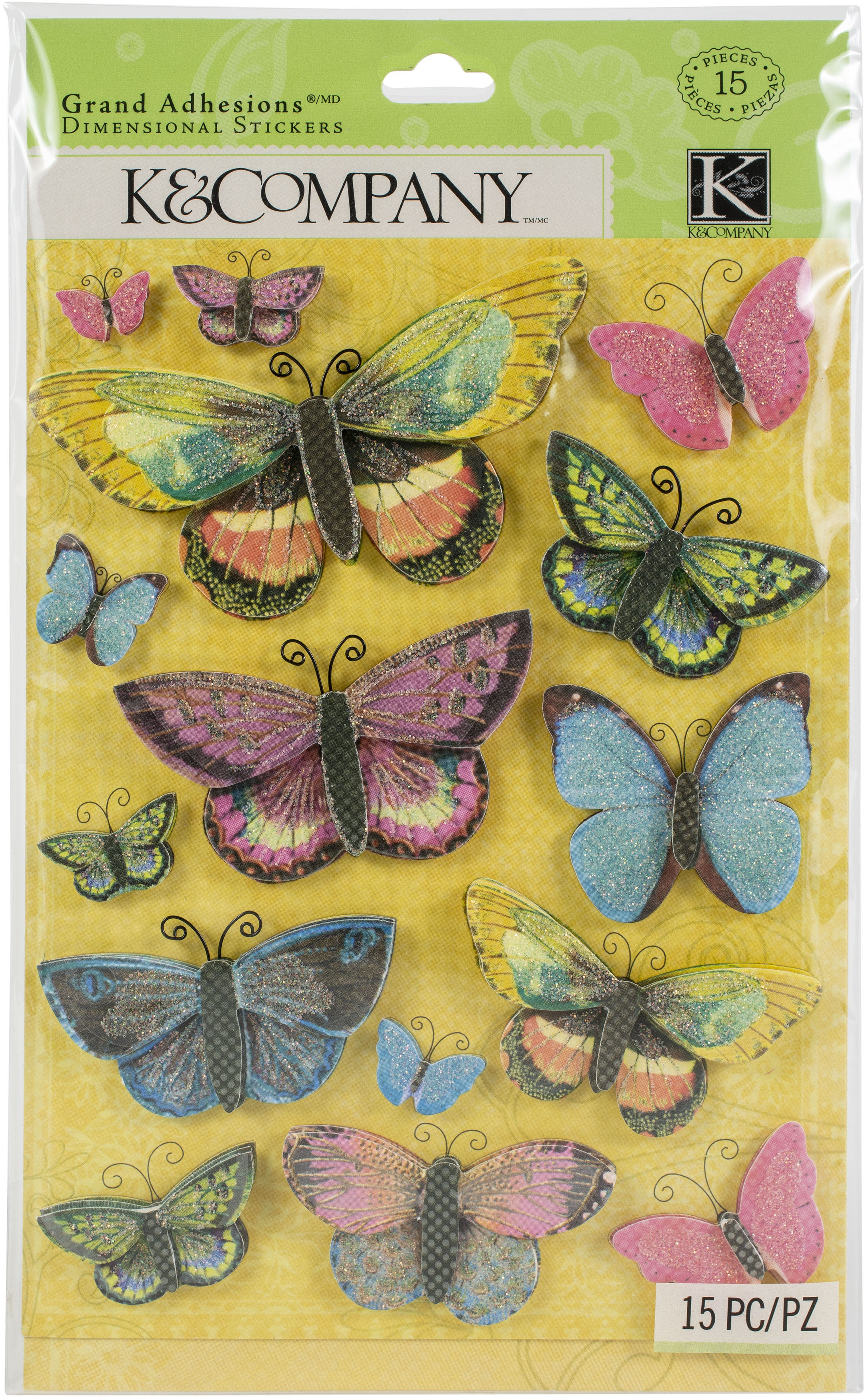 Serendipity Grand Adhesions Dimensional Stickers 15/Pkg-Butterflies