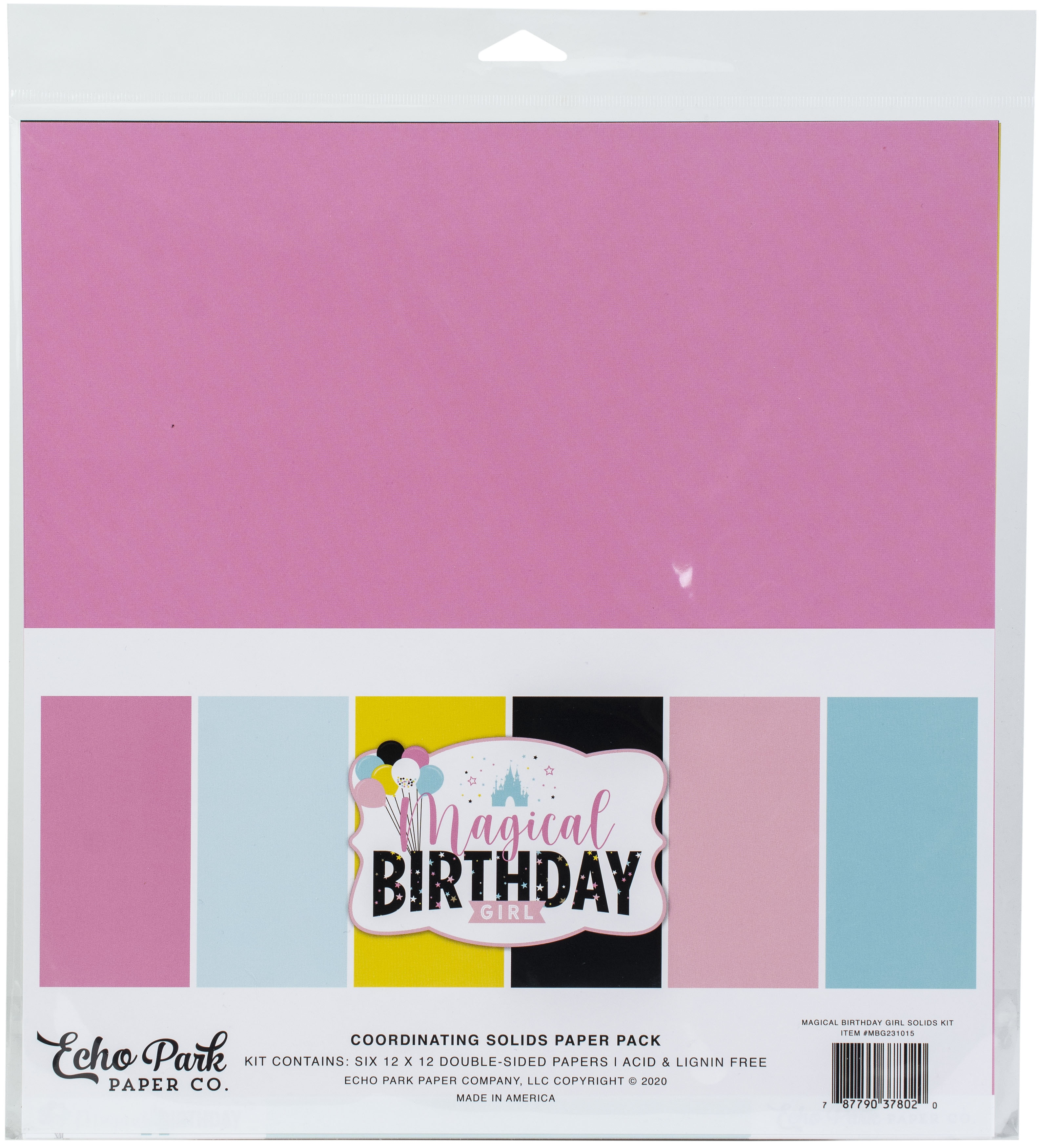 Echo Park - Magical Birthday Girl - 12x12 Coordinating Solids Paper Pack
