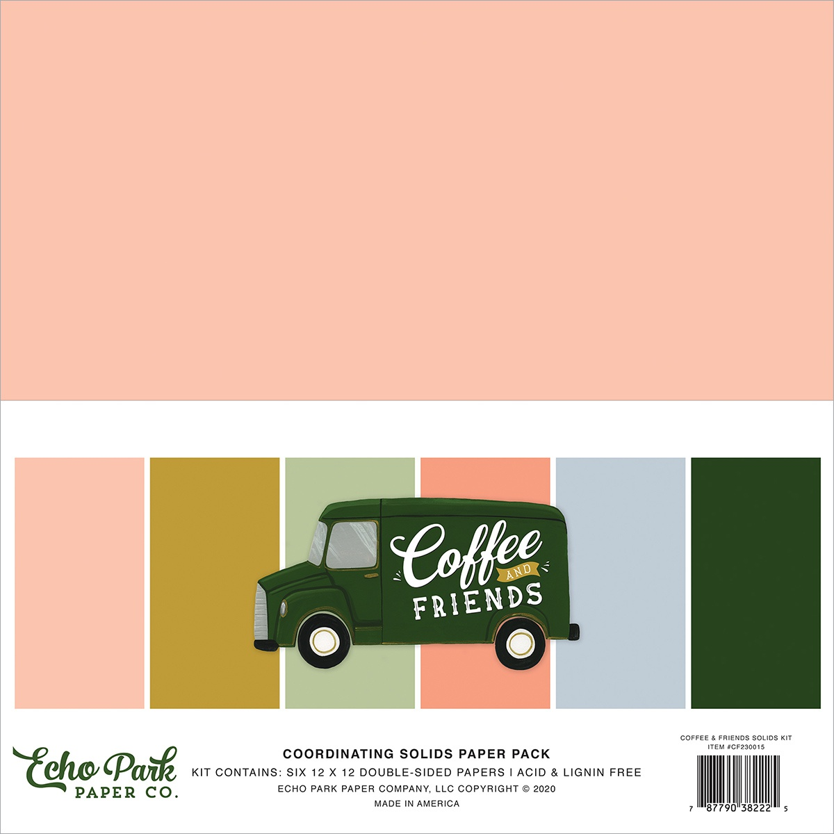 Echo Park Double-Sided Solid Cardstock 12X12 6/Pkg-Coffee & Friends, 6 Colors
