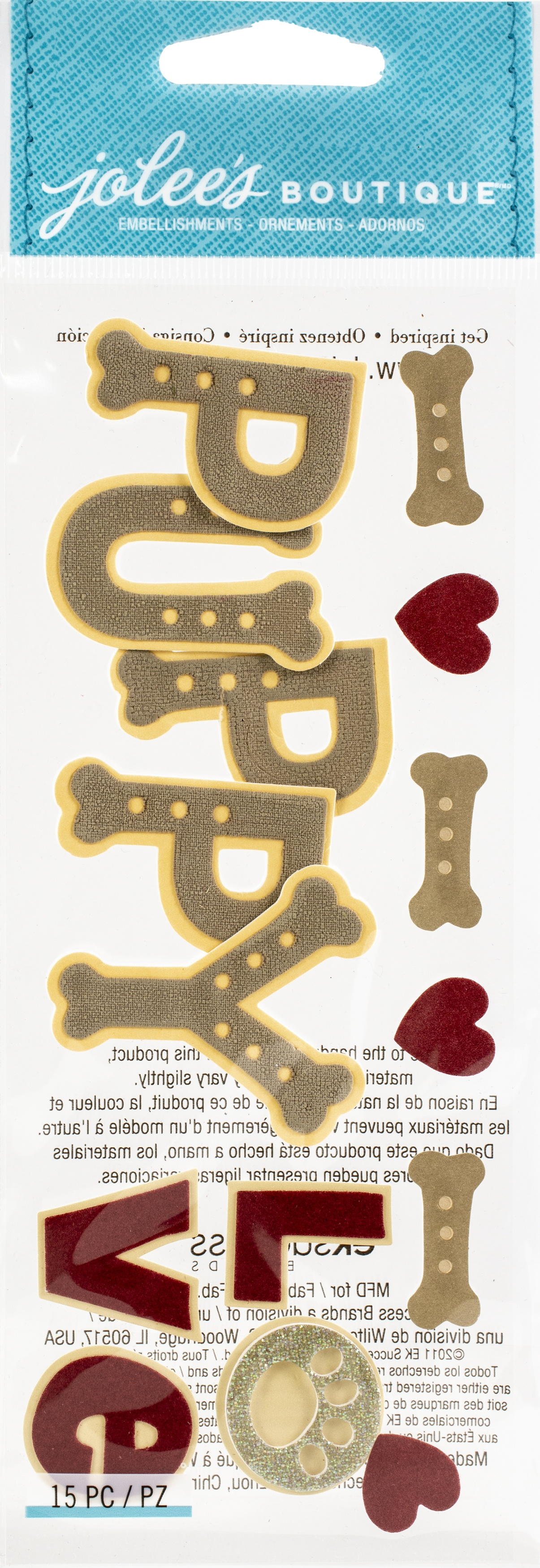 Jolee's Boutique Title Waves Dimensional Stickers-Puppy Love