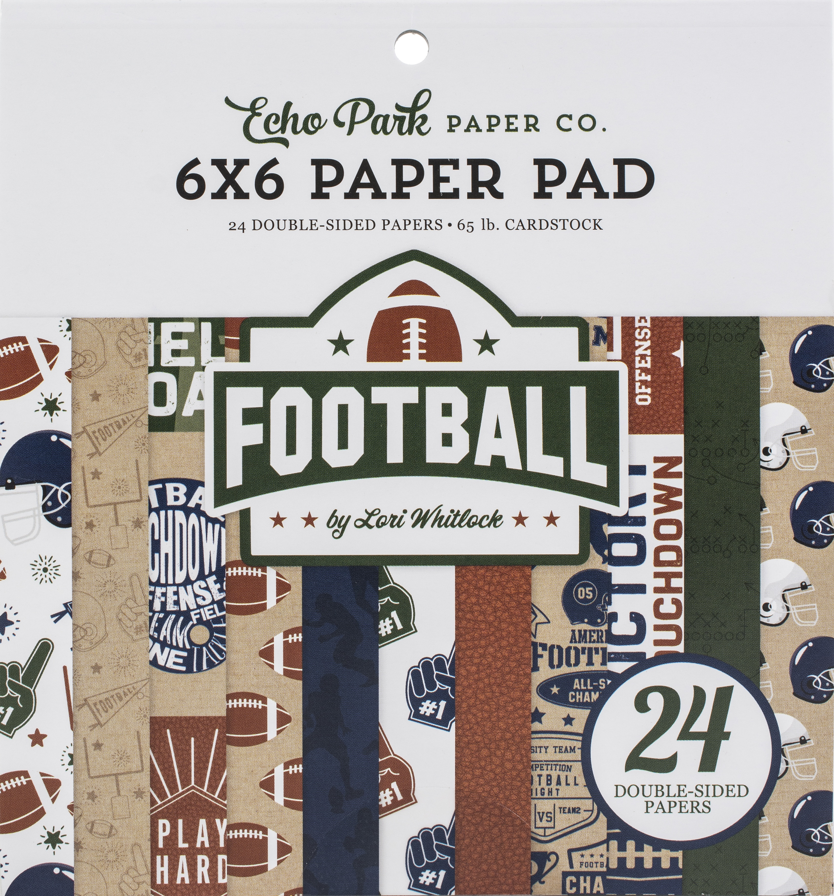 Echo Park Double-Sided Paper Pad 6X6 24/Pkg-Football