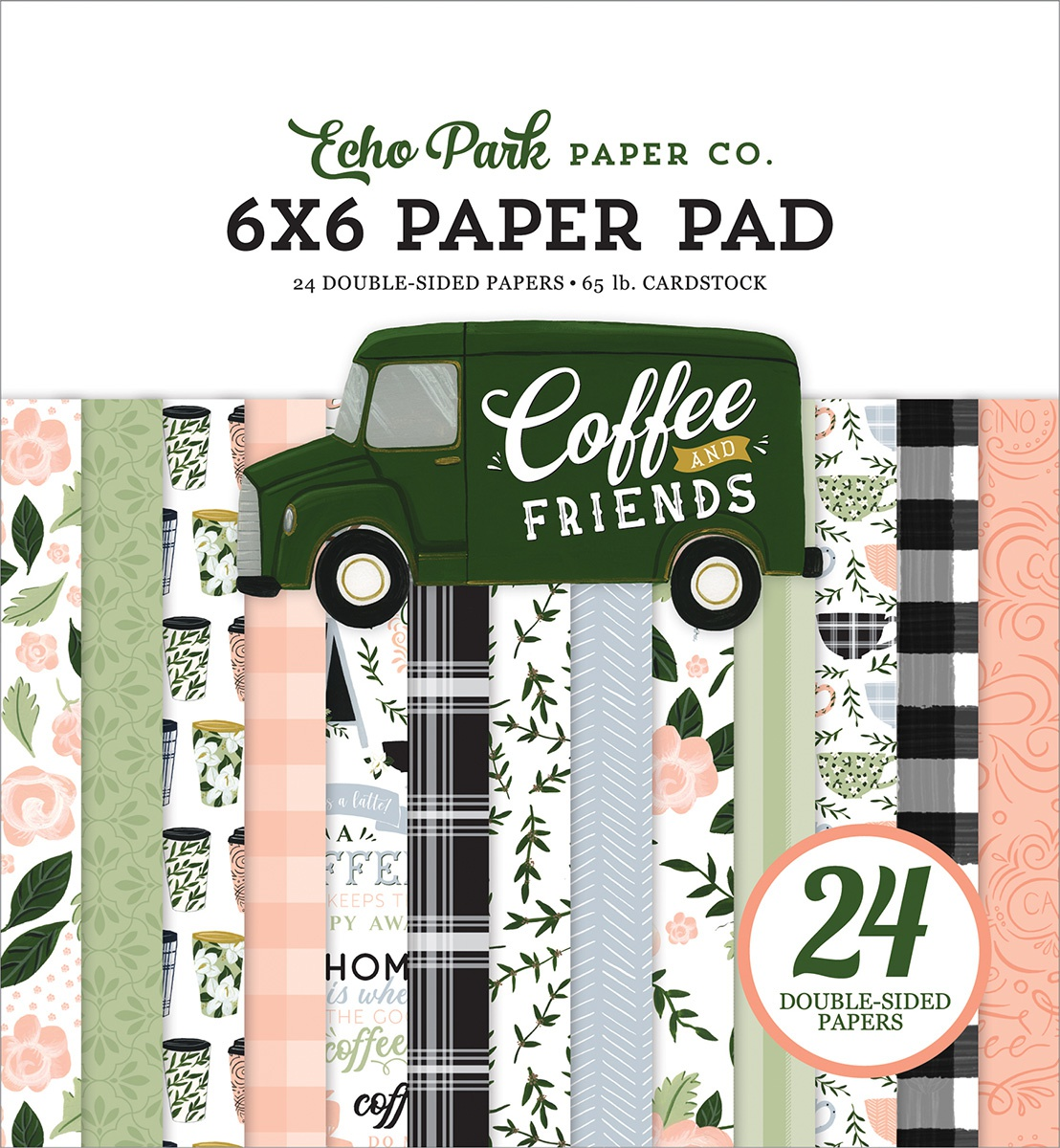 Echo Park Double-Sided Paper Pad 6X6 24/Pkg-Coffee & Friends