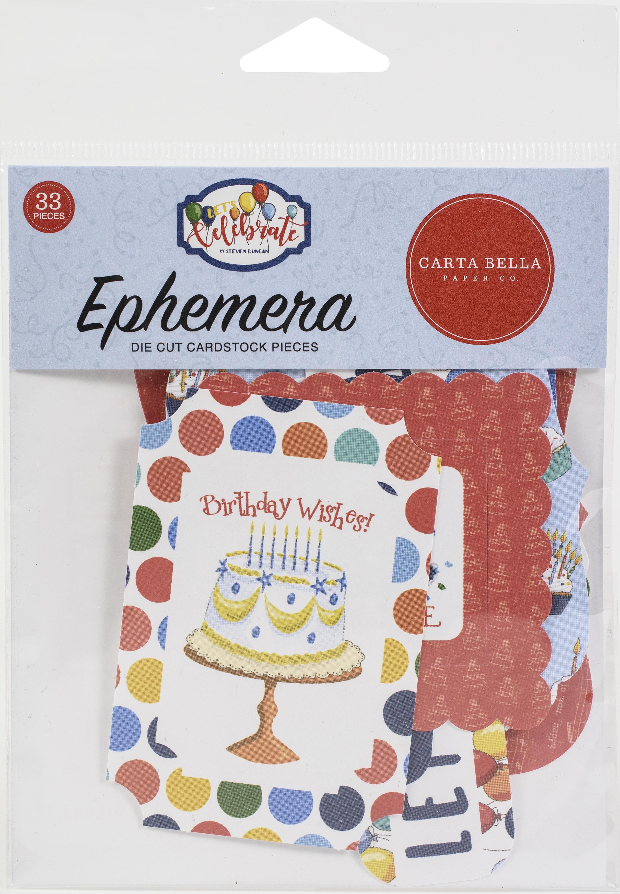 Carta Bella Cardstock Ephemera 33/Pkg-Icons, Let's Celebrate