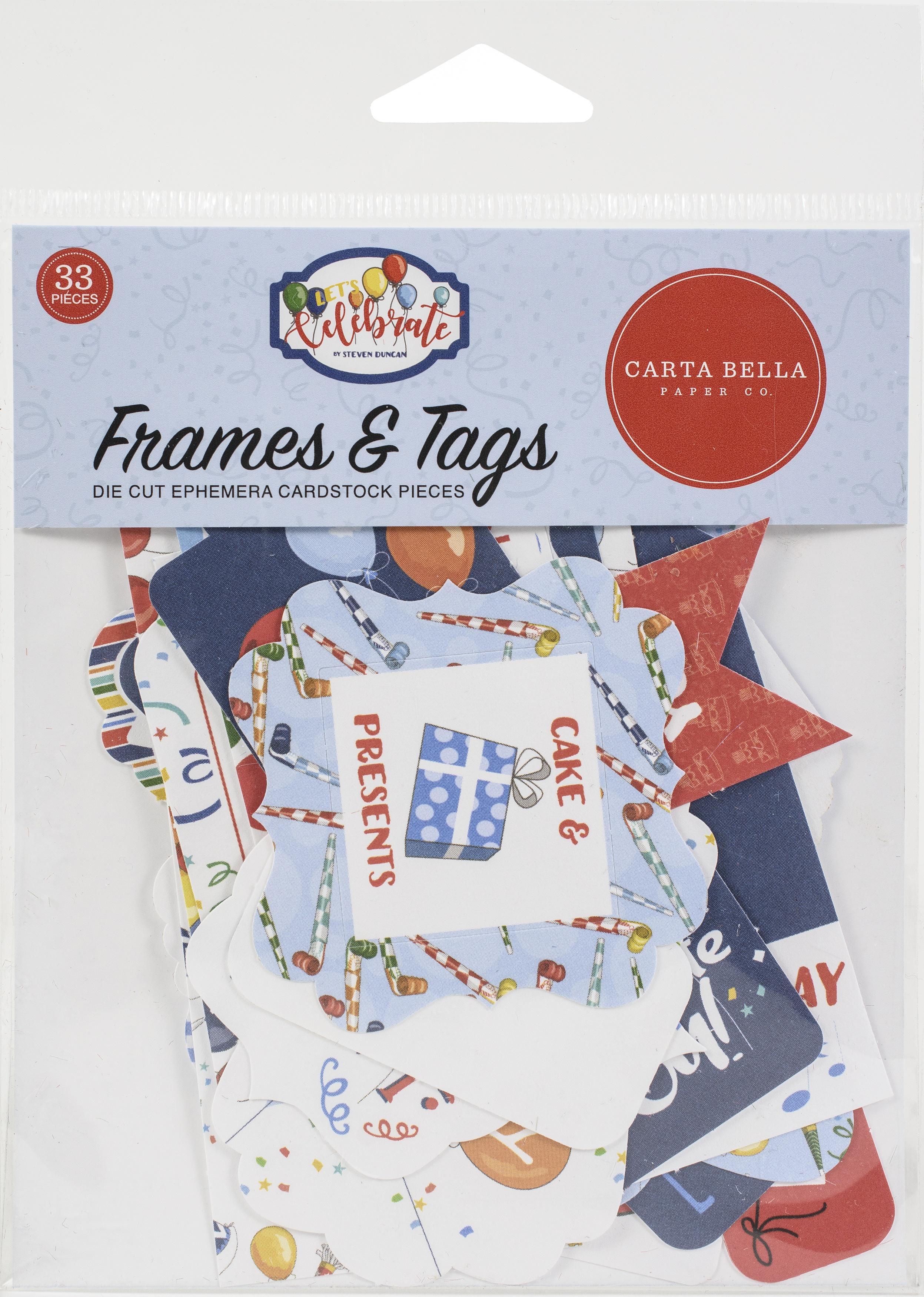 Carta Bella Cardstock Ephemera 33/Pkg-Tags & Frames, Let's Celebrate