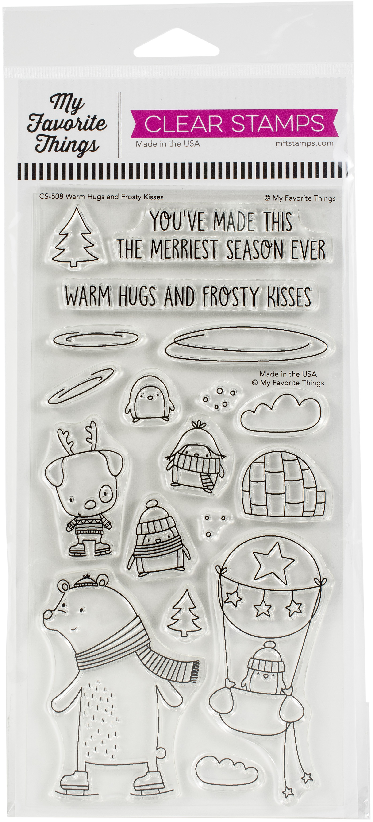 My Favorite Things Clear Stamps 4X8-Warm Hugs and Frosty Kisses