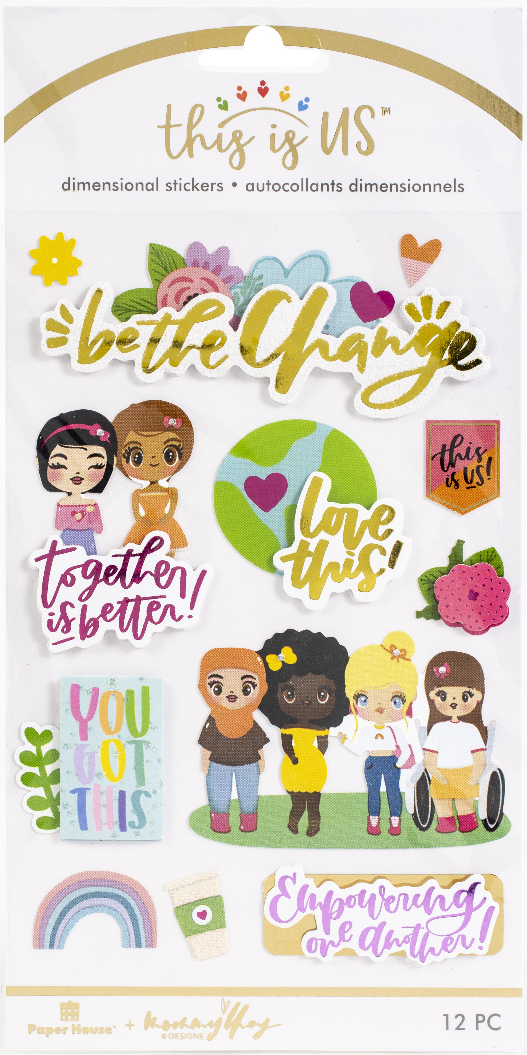 This Is Us Embellished Dimensional Stickers 12/Pkg-Be The Change