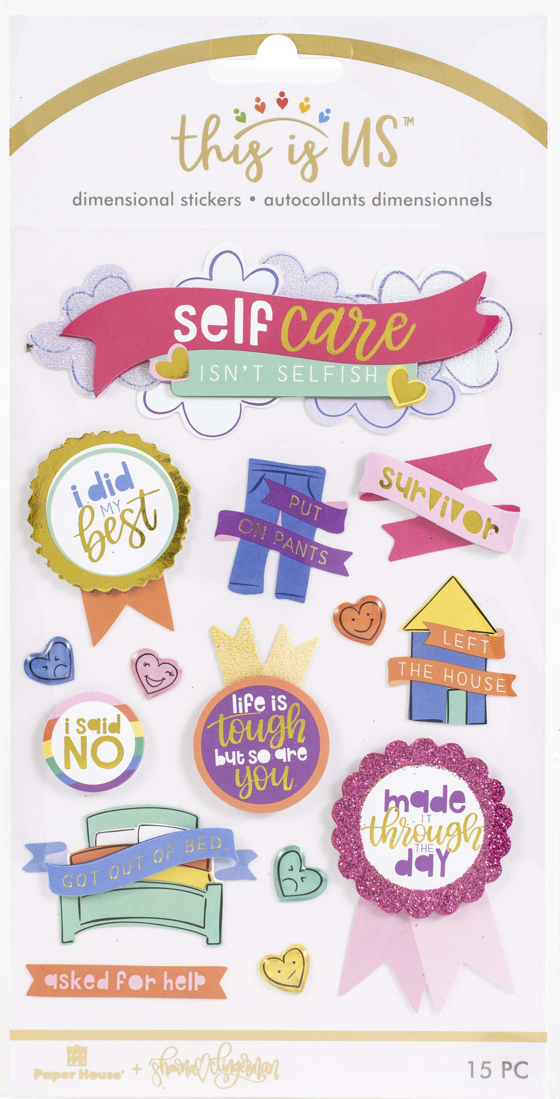 This Is Us Embellished Dimensional Stickers 15/Pkg-Bright Self Care