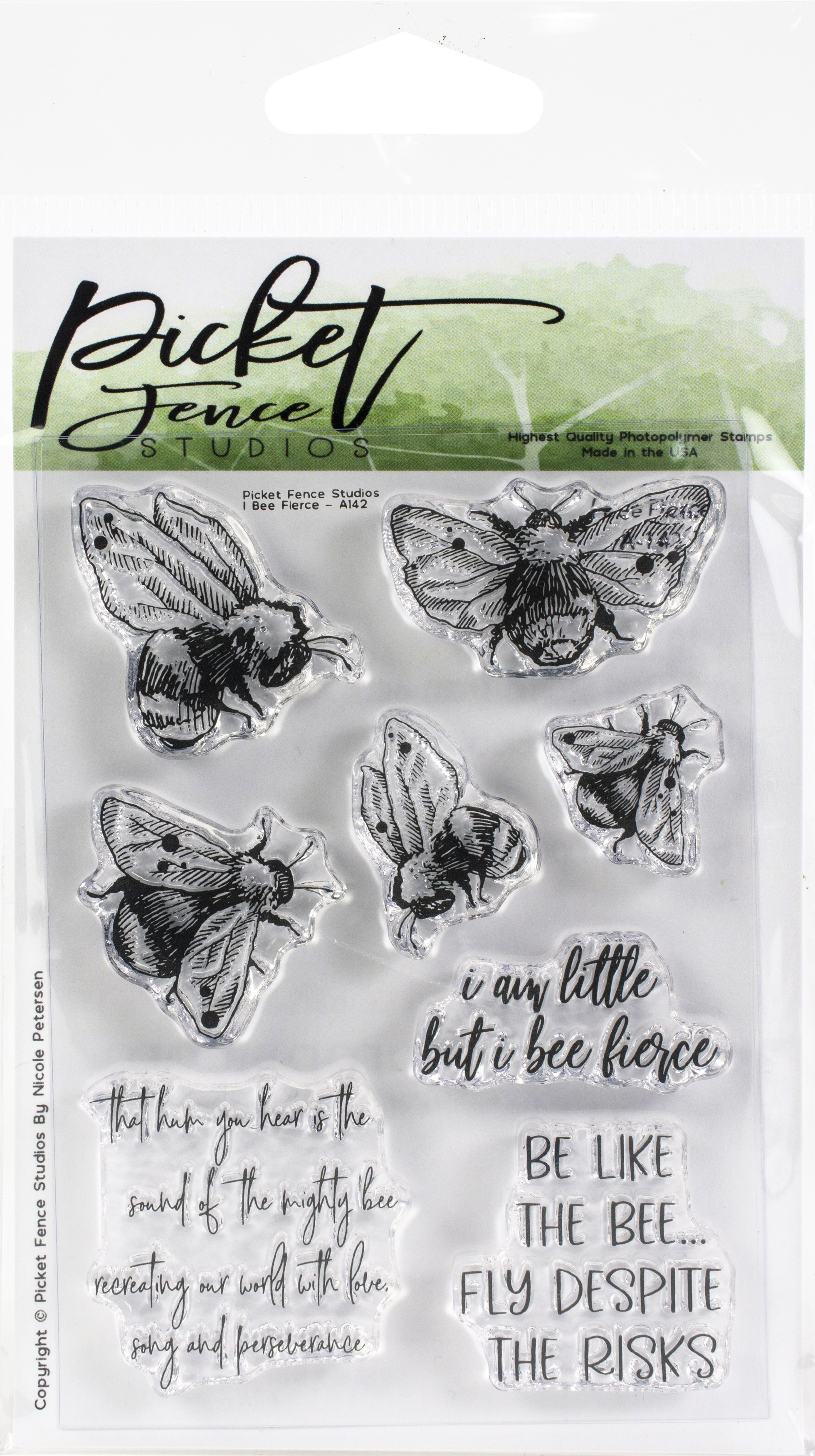 Picket Fence Studios 3X4 Stamp Set-I Bee Fierce