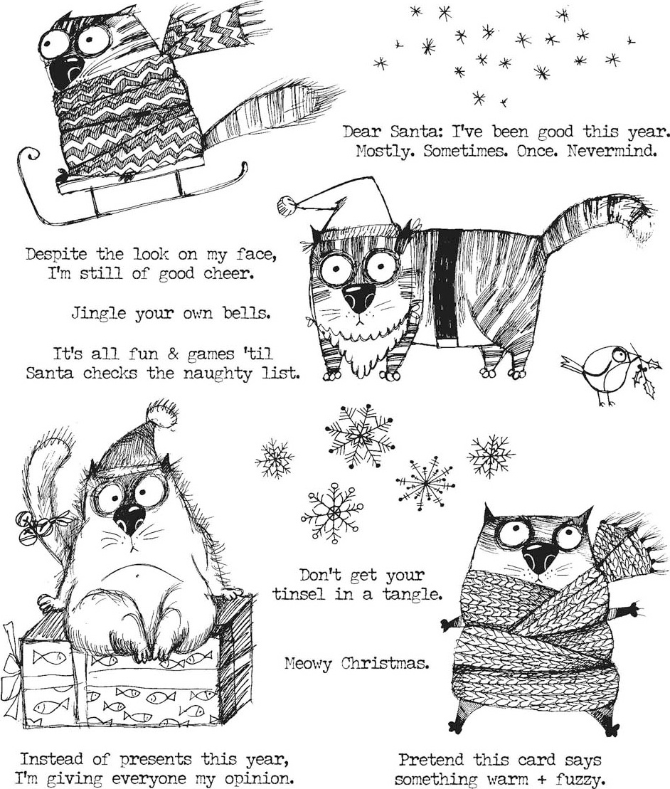 Tim Holtz Cling Stamps 7X8.5-Snarky Cat Christmas