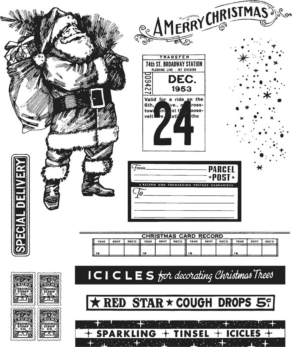 New! Tim Holtz Cling Stamps 7X8.5-Vintage Holidays