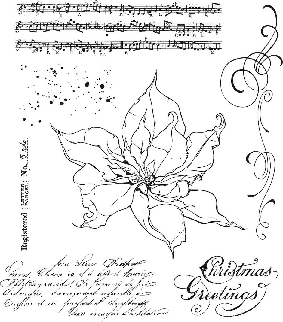 Tim Holtz - Cling Stamp - The Poinsettia