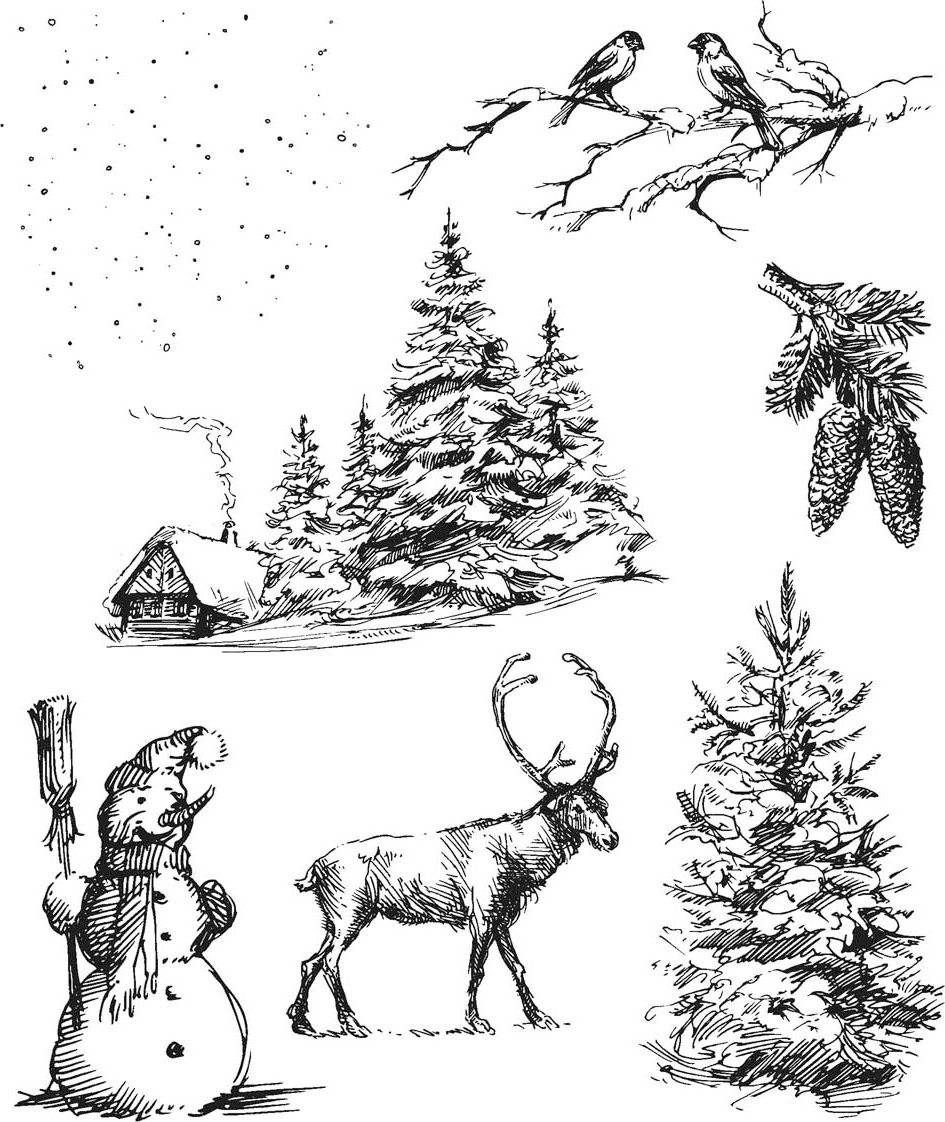 Tim Holtz Cling Stamps 7X8.5-Winterscape