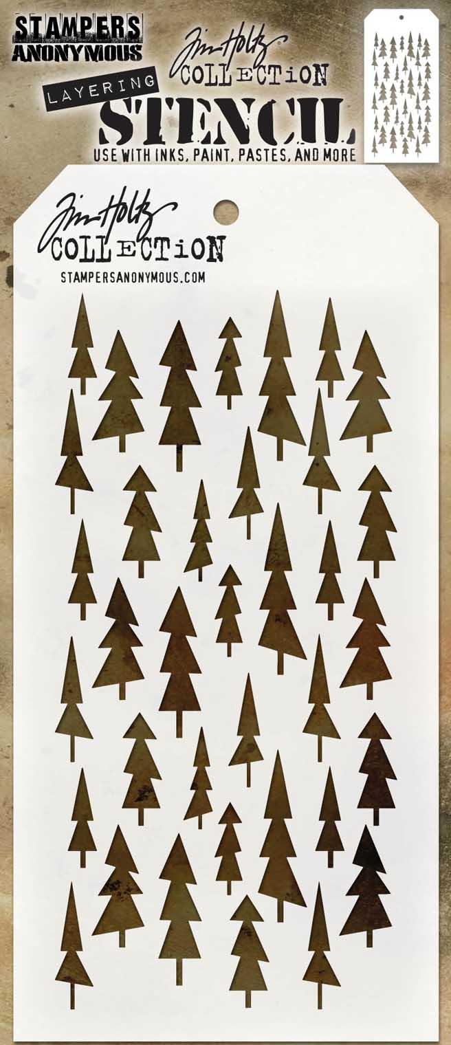 Tim Holtz Layered Stencil 4.125X8.5-Tree Lot