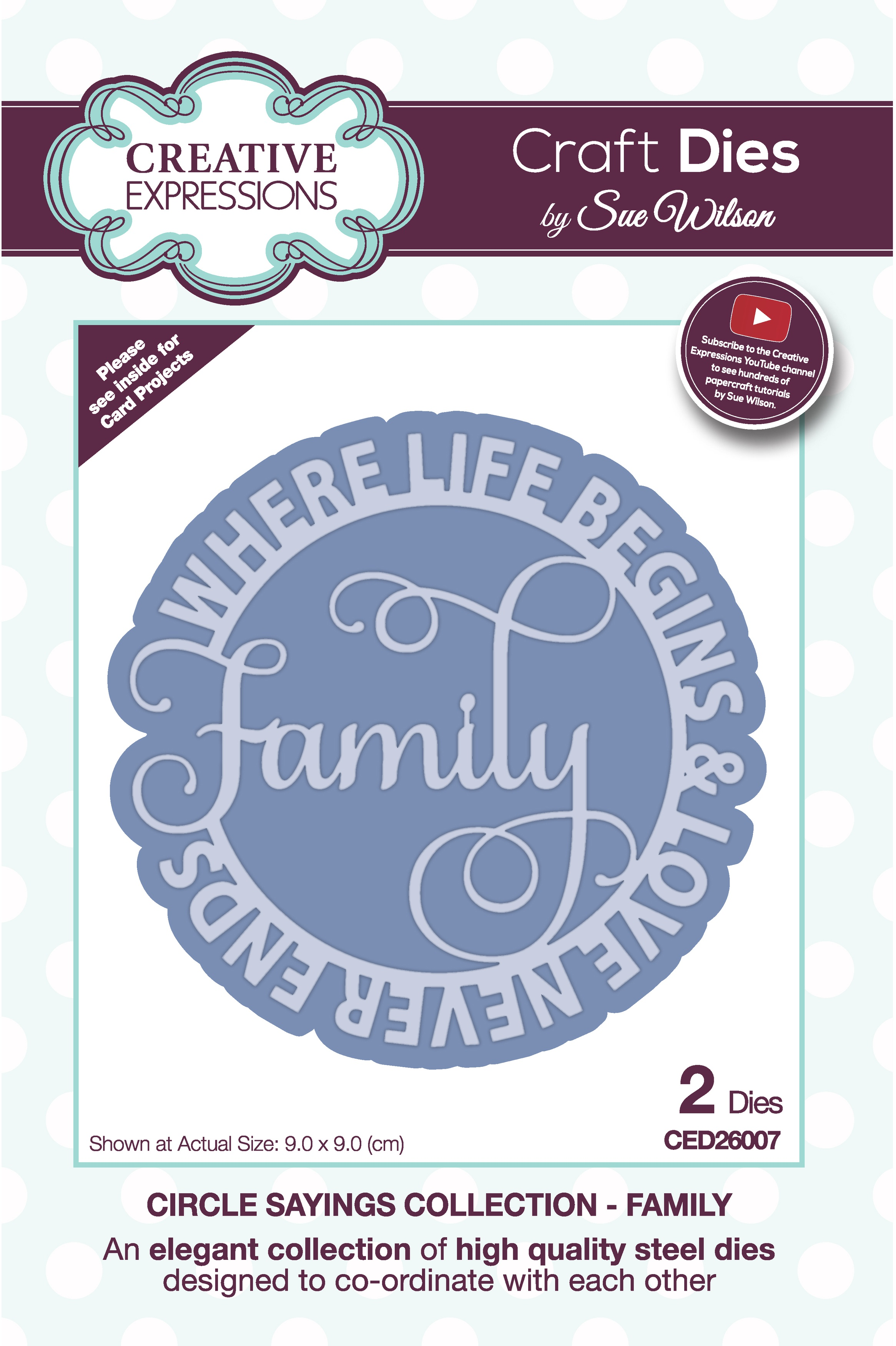 Creative Expressions Craft Dies By Sue Wilson-Circle Sayings- Family