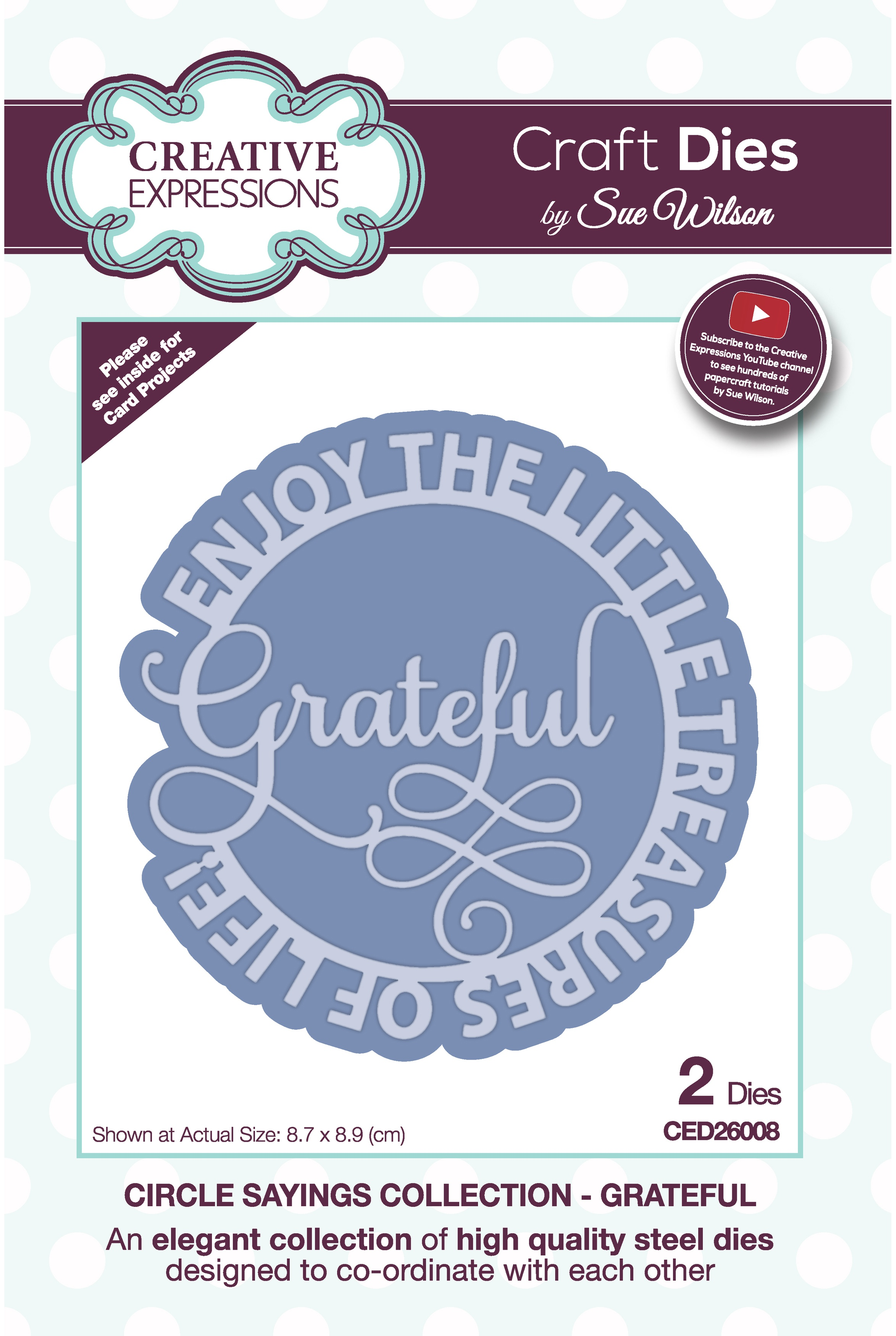 Creative Expressions Craft Dies By Sue Wilson-Circle Sayings- Grateful
