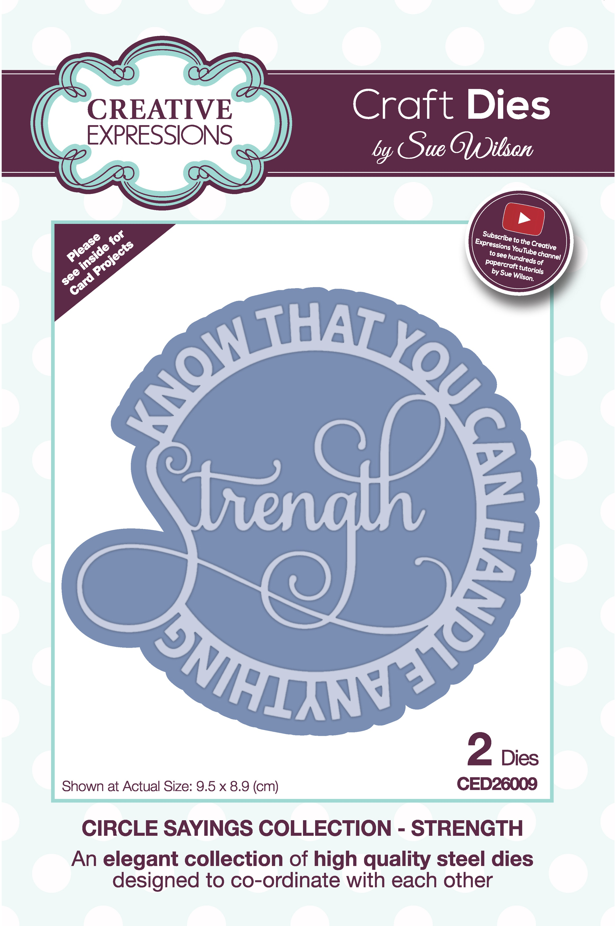 Creative Expressions Craft Dies By Sue Wilson-Circle Sayings- Strength
