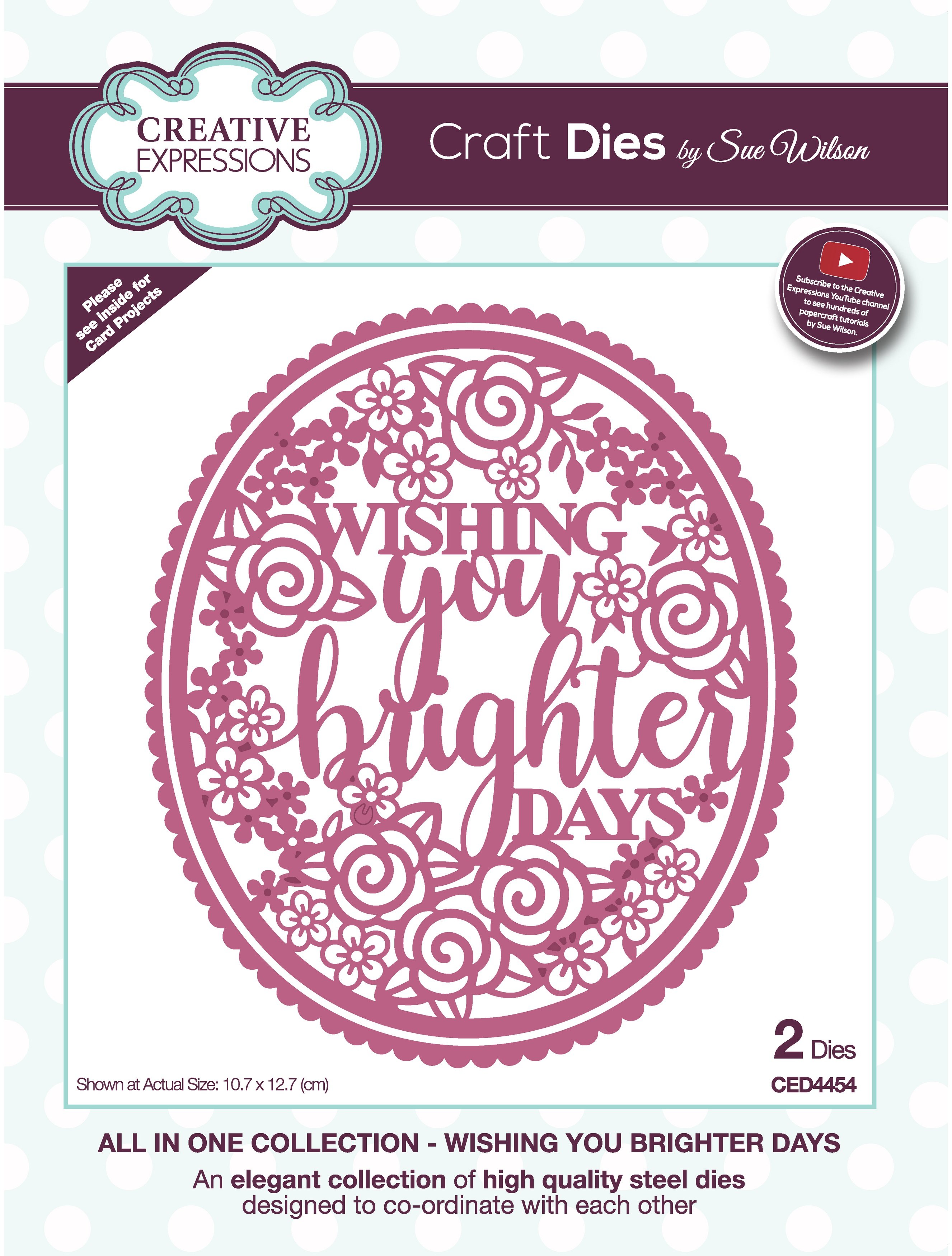 Creative Expressions Craft Dies By Sue Wilson-All In One- Wishing You Brighter Days