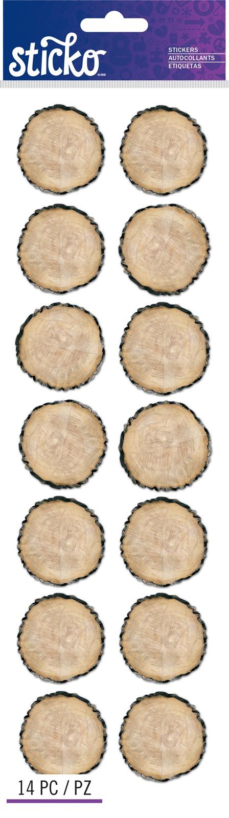 Sticko Stickers-Woodgrain Round Labels