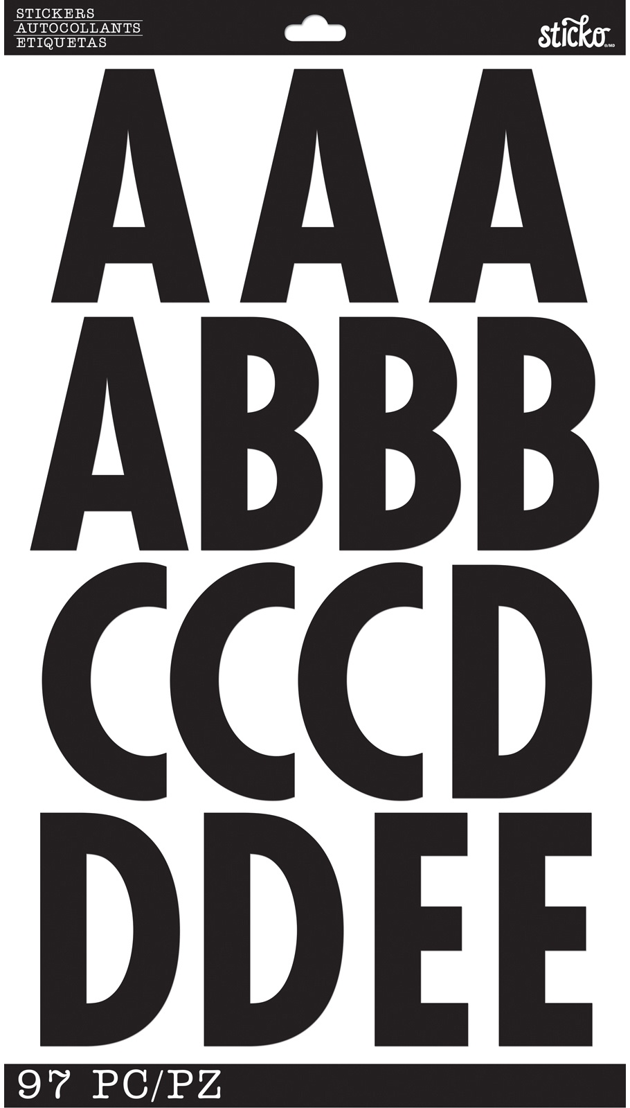 Sticko Alphabet Stickers-Poster Board XL - Black