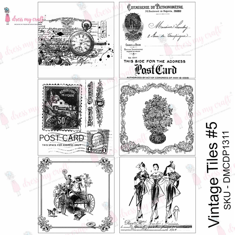 Dress My Craft Transfer Me Sheet A4-Vintage Tile #5