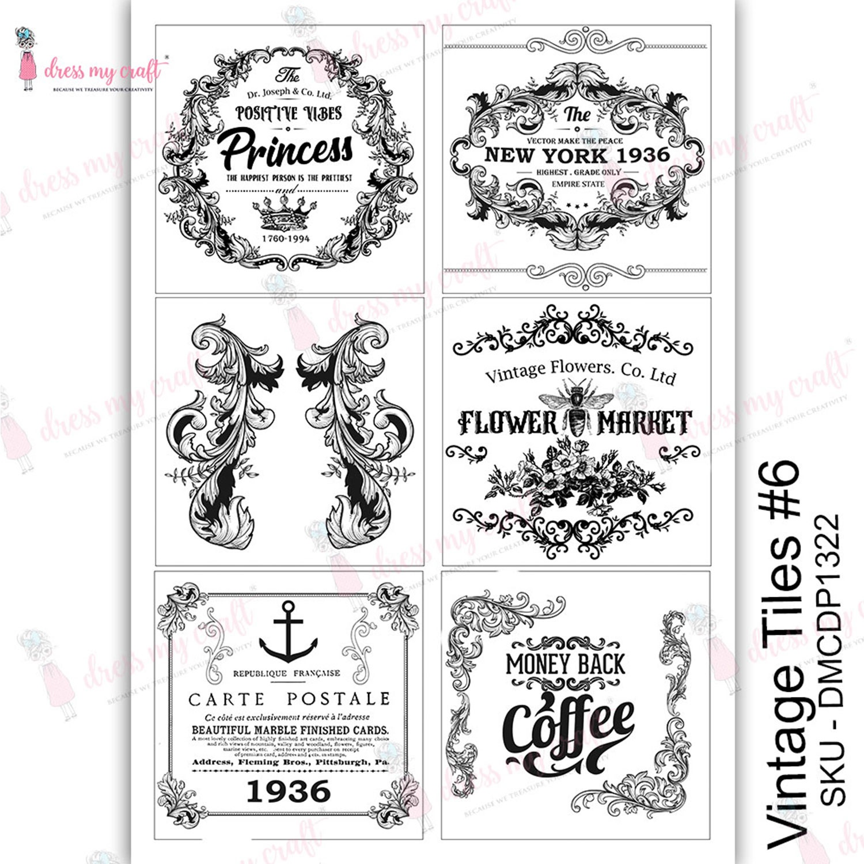 Dress My Craft Transfer Me Sheet A4-Vintage Tile #6