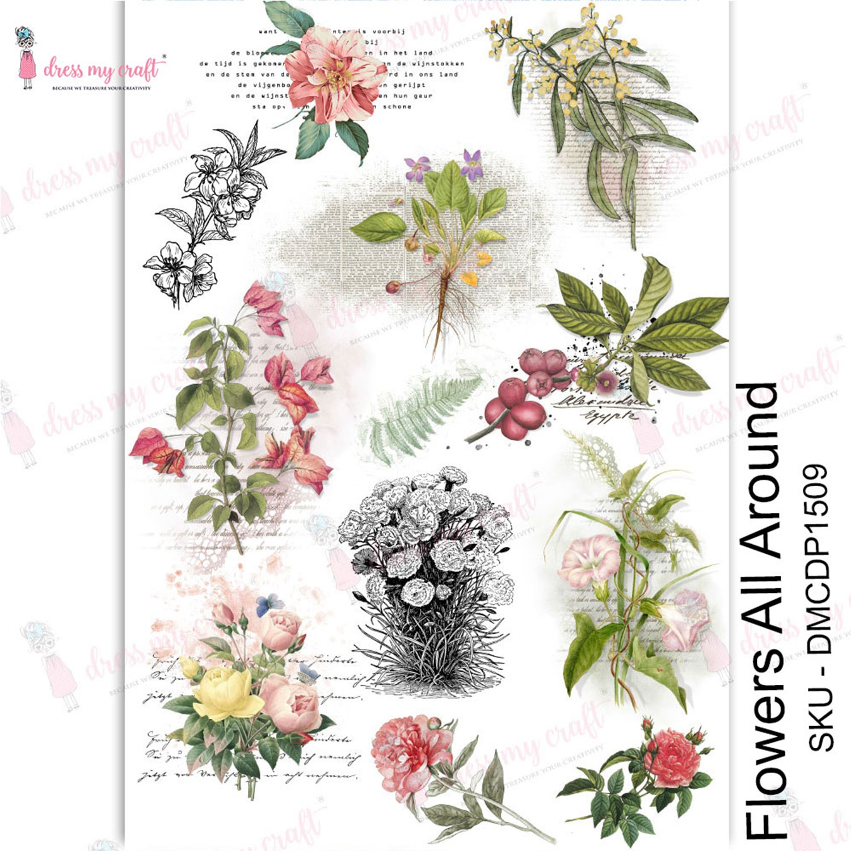 Dress My Craft Transfer Me Sheet A4-Flowers All Around