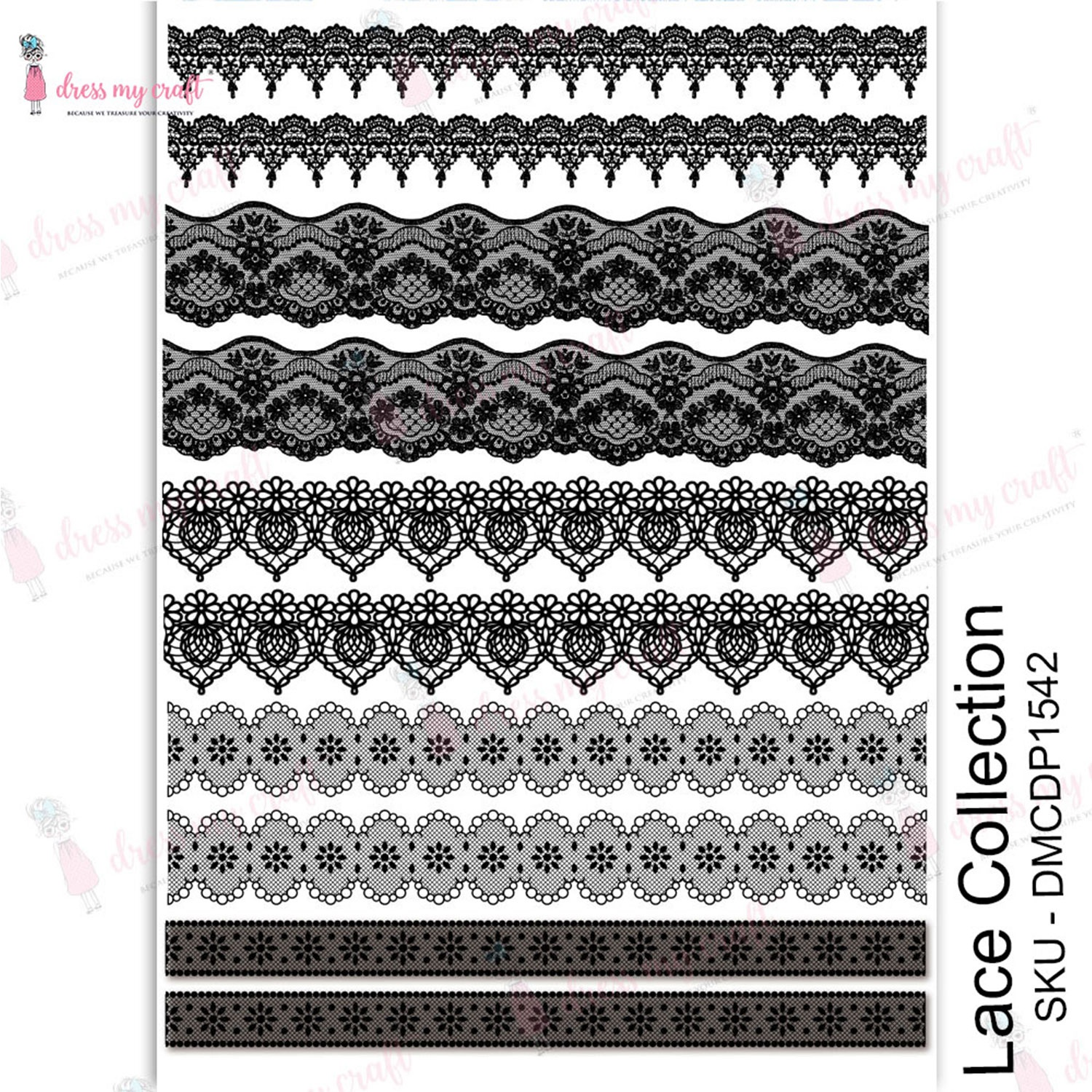 Dress My Craft Transfer Me Sheet A4-Lace Collection