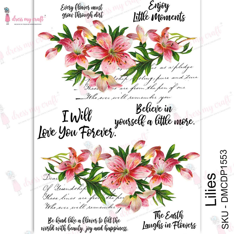 Dress My Craft Transfer Me Sheet A4-Lilies