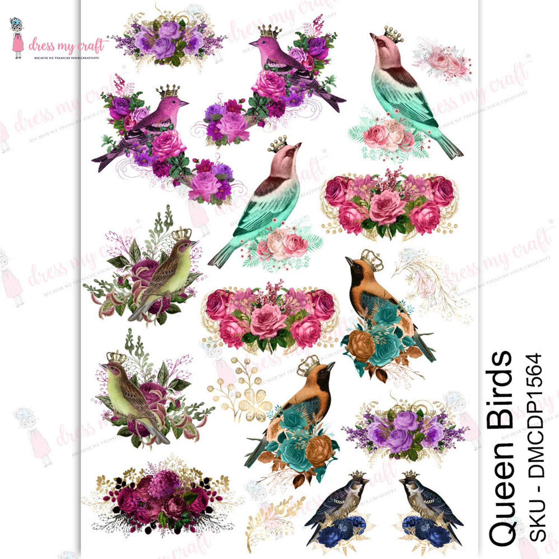 Dress My Craft Transfer Me Sheet A4-Queen Birds