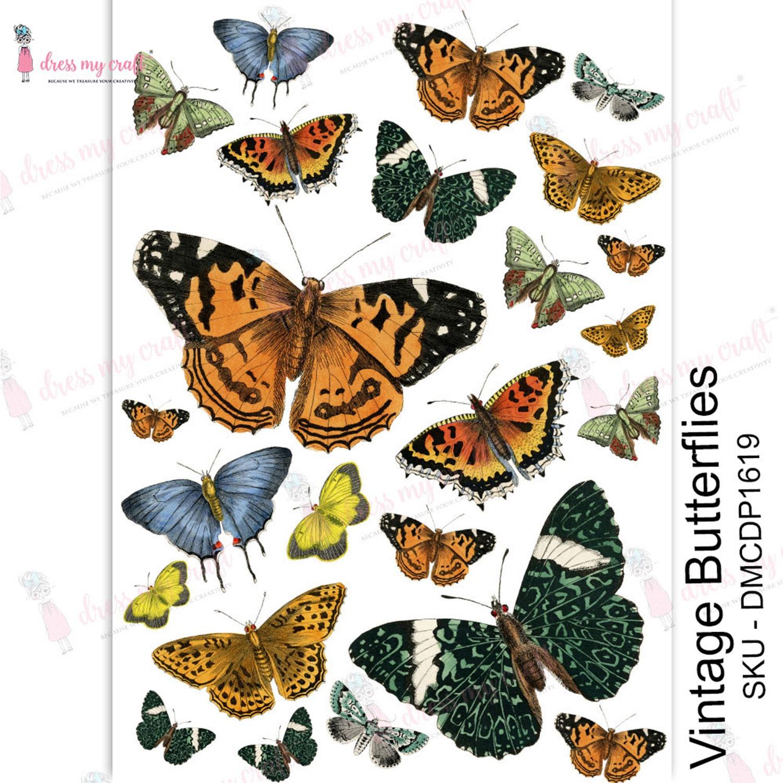 Dress My Craft Transfer Me Sheet A4-Vintage Butterflies