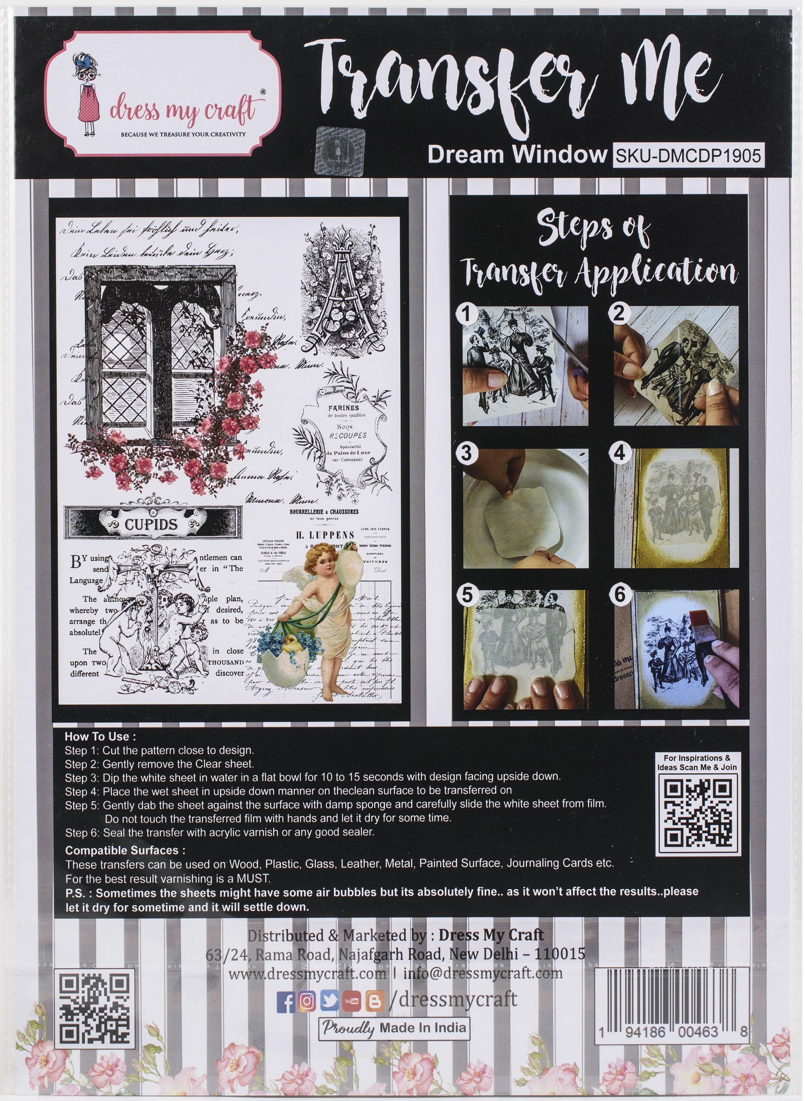 Dress My Craft Transfer Me Sheet A4-Dream Window