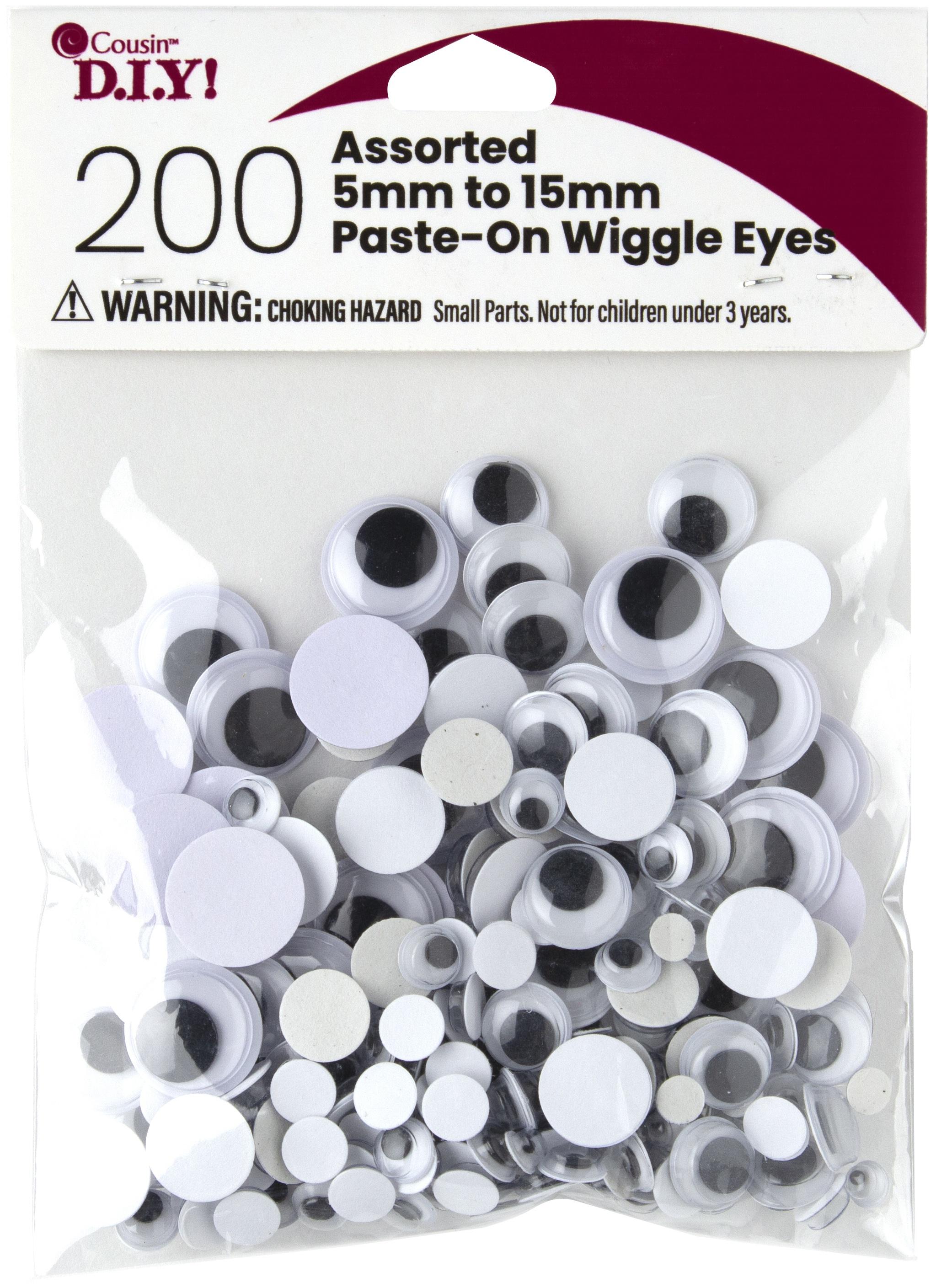 Paste-On Wiggle Eyes 5mm To 15mm 200/Pkg-Black