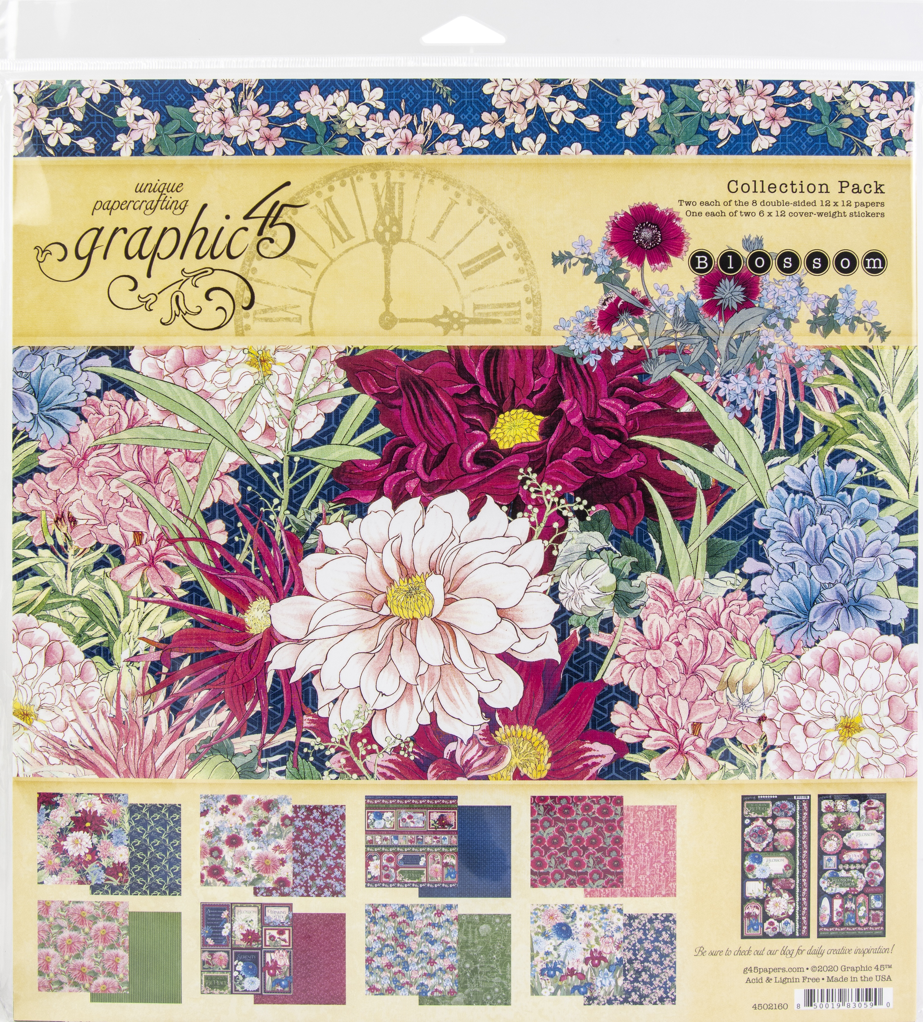 Graphic 45 Collection Pack 12X12-Blossom