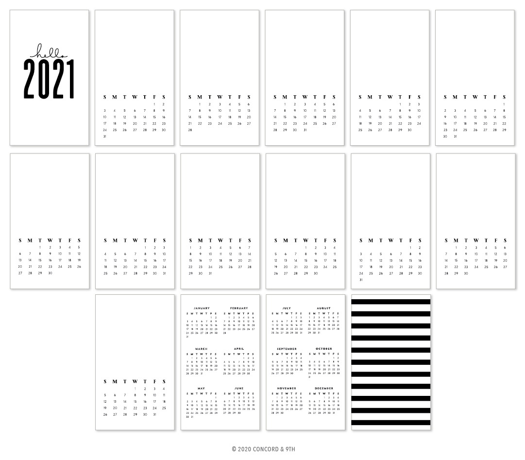Concord & 9th Calendar 3.5X6 16/Sheets-2021