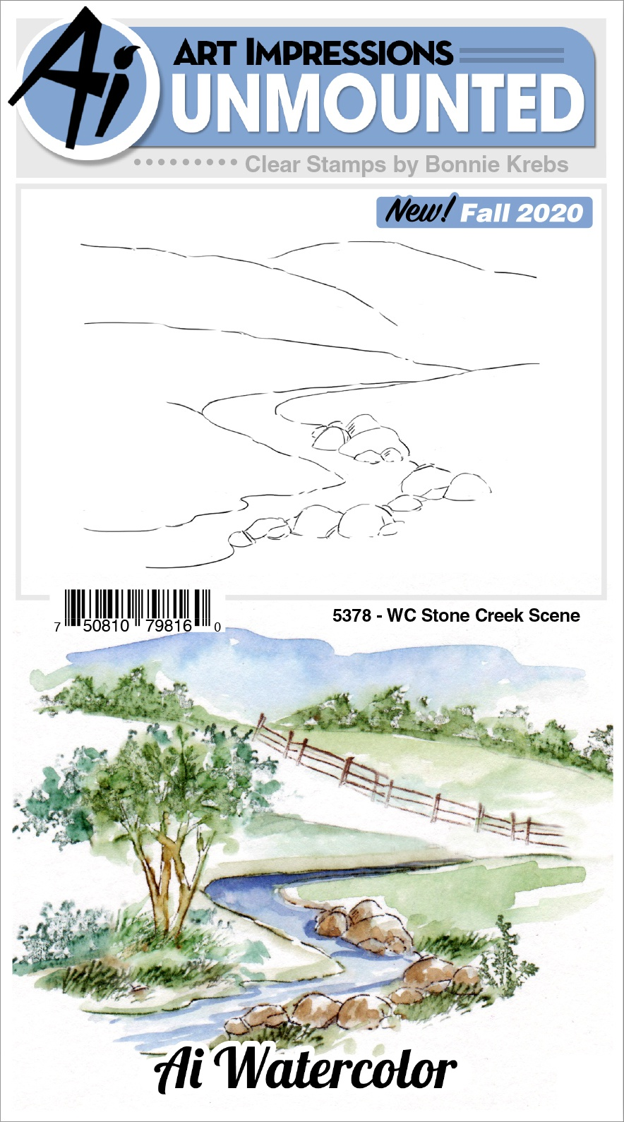 AI - WC - Stone Creek Scene Stamp