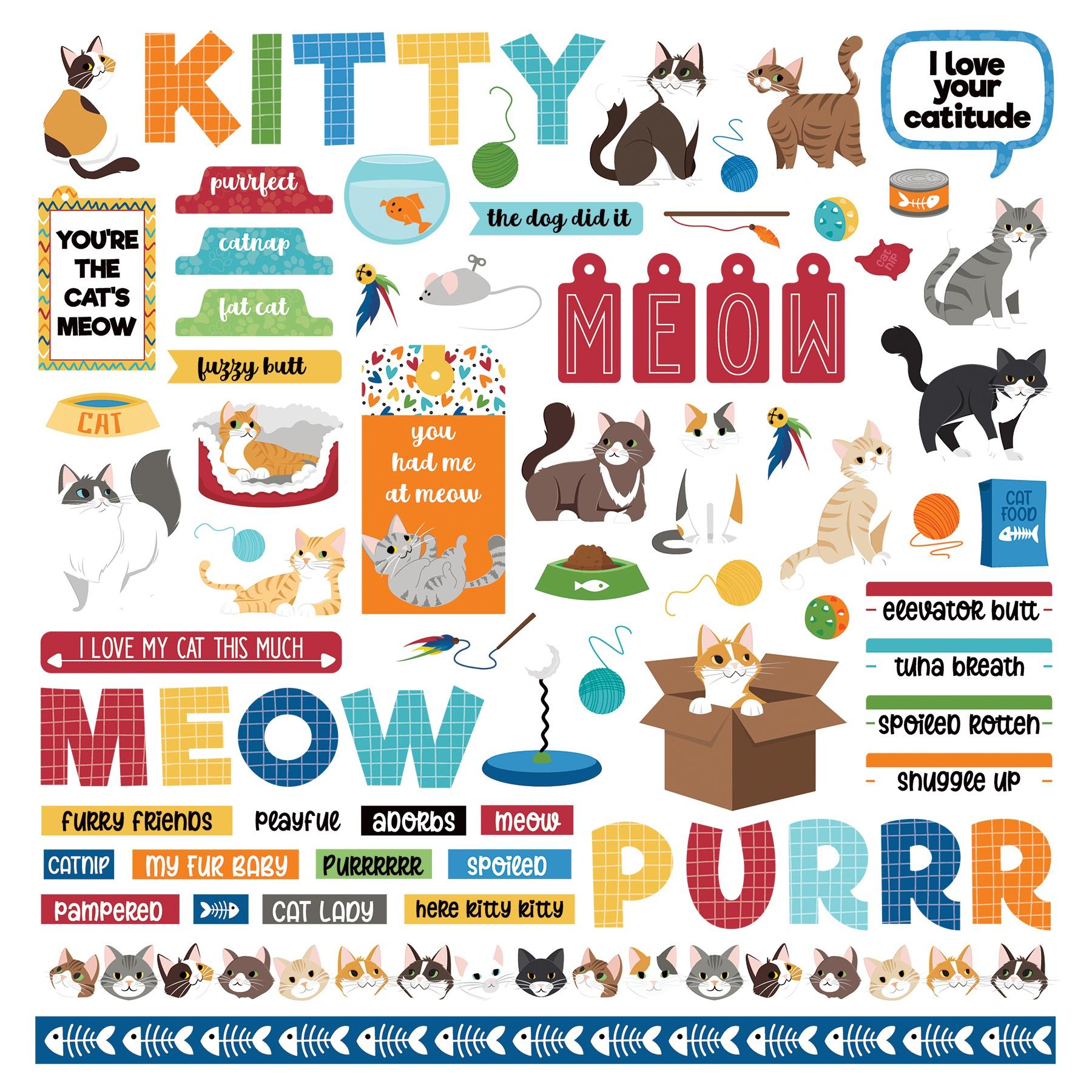 PhotoPlay - Cat Lover - 12x12 Element Sticker Sheet