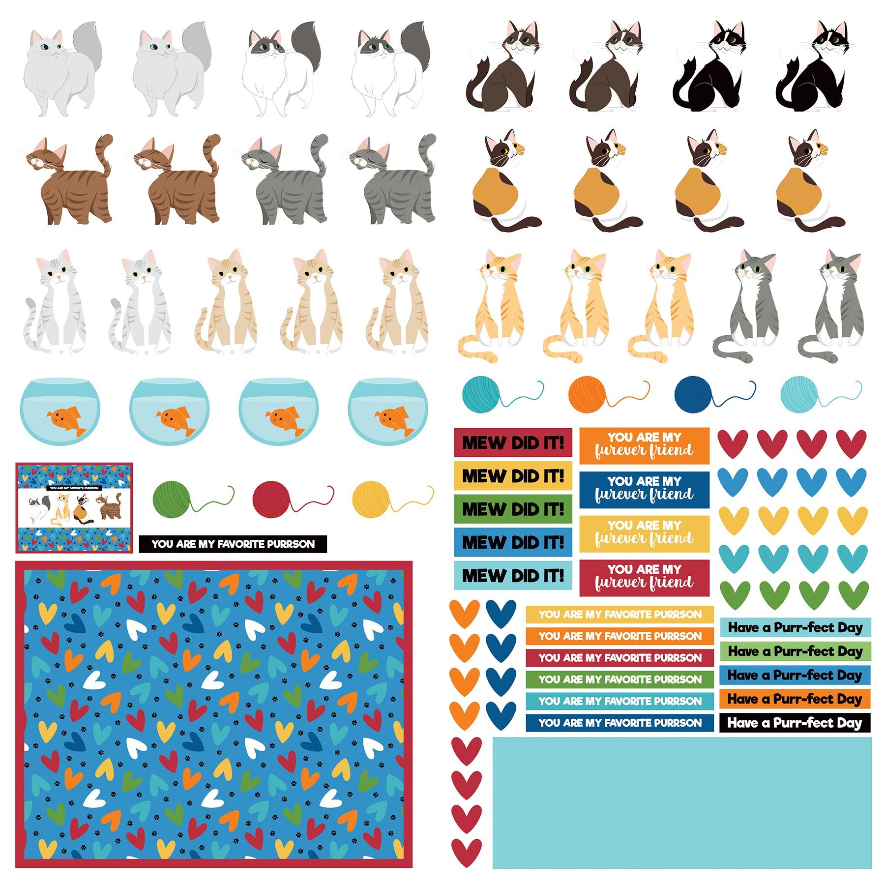Cat Lover Cardstock Die-Cut Sheet 12X12-