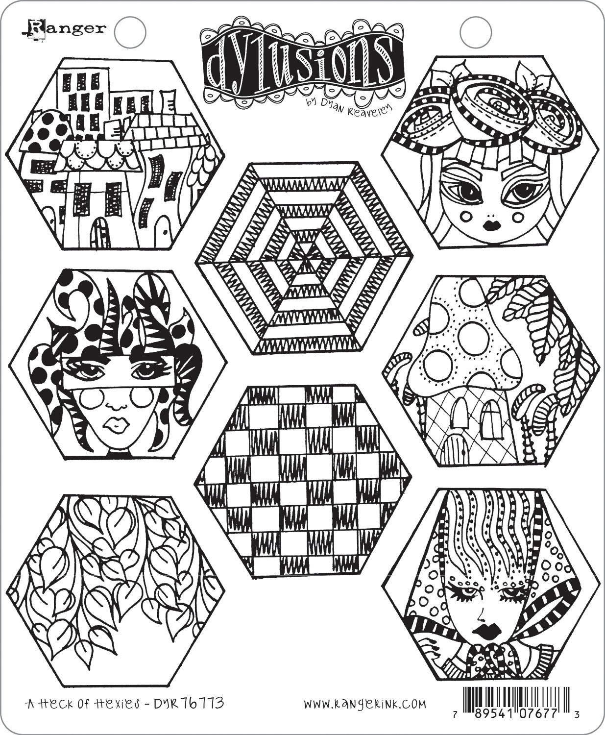Dyan Reaveley's Dylusions Cling Stamp Collections 8.5X7-A Heck Of Hexies